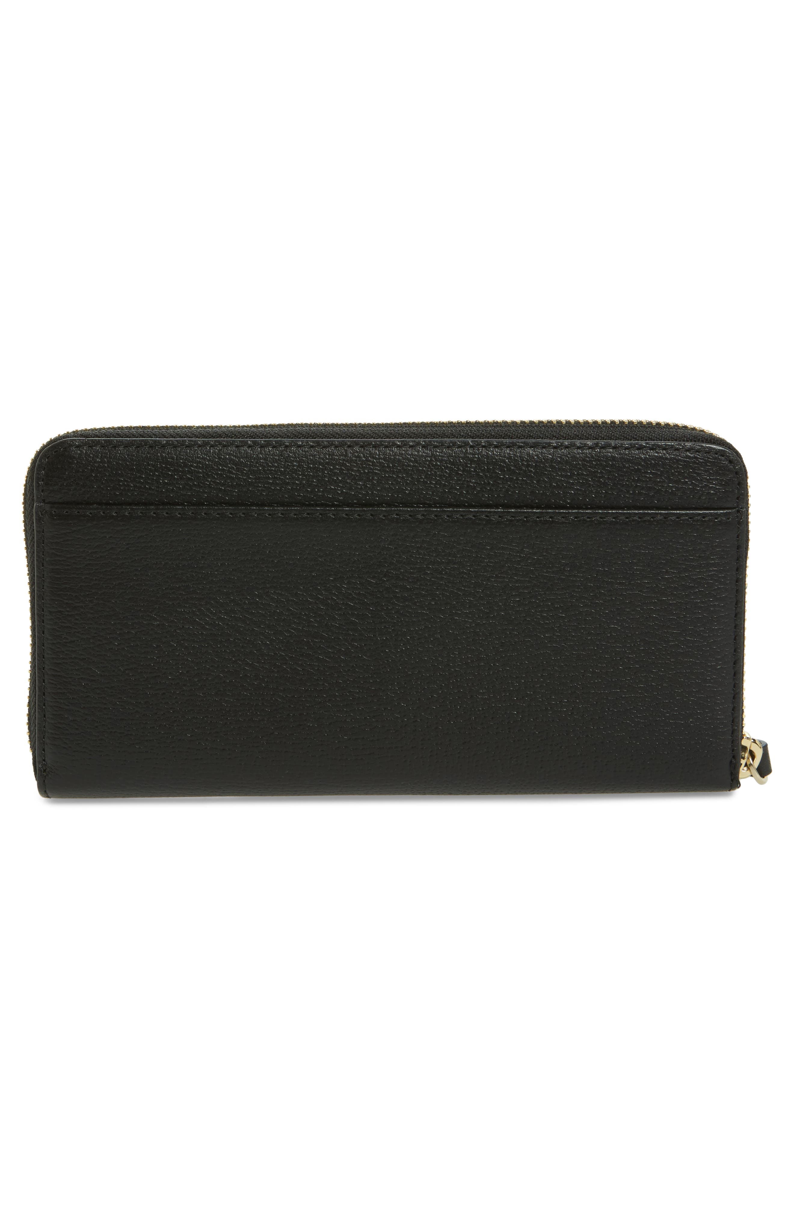 olive drive - lacey bow leather wallet,                             Alternate thumbnail 3, color,                             001