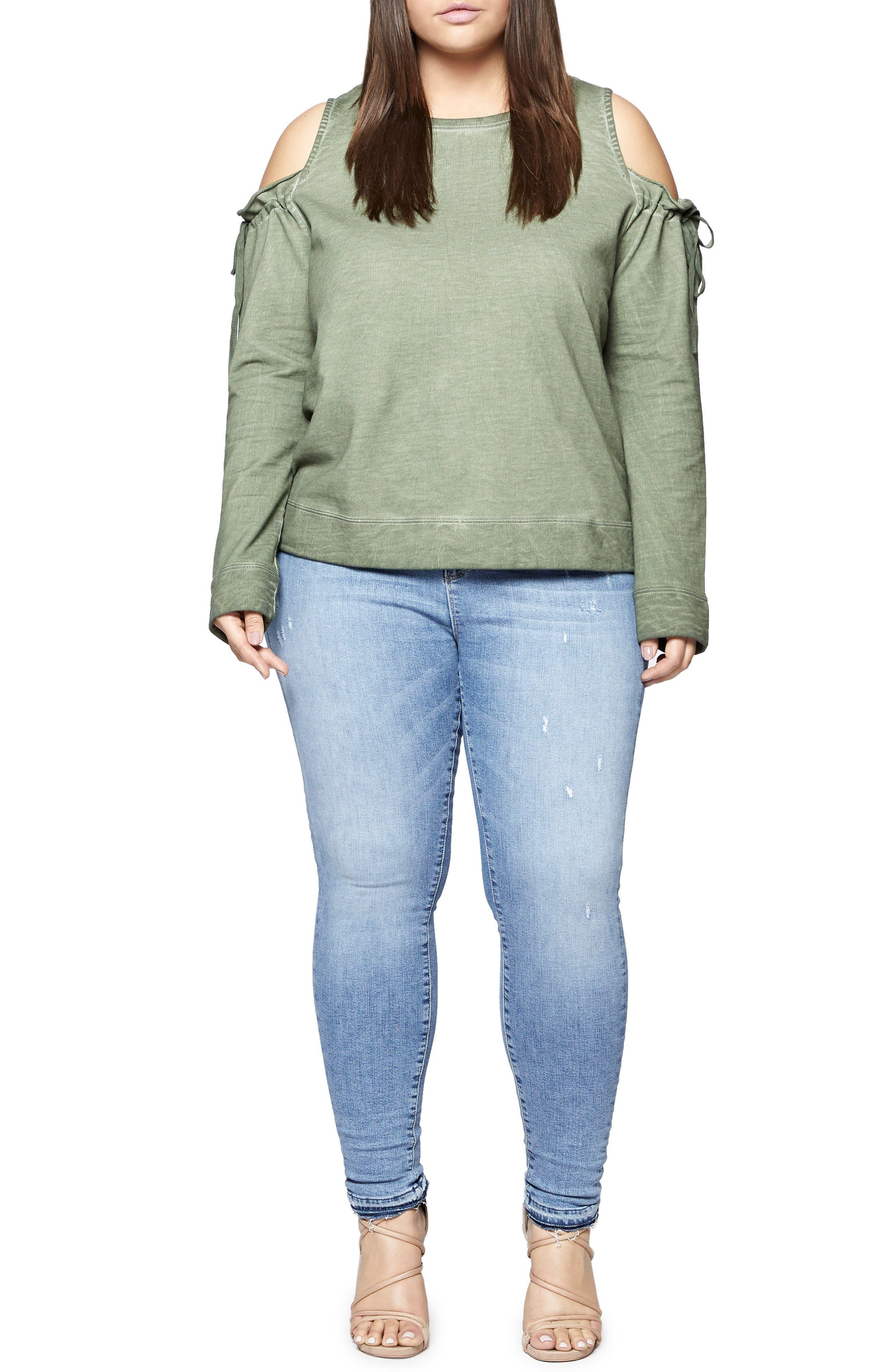 Parkside Cold Shoulder Sweatshirt,                             Alternate thumbnail 3, color,                             300