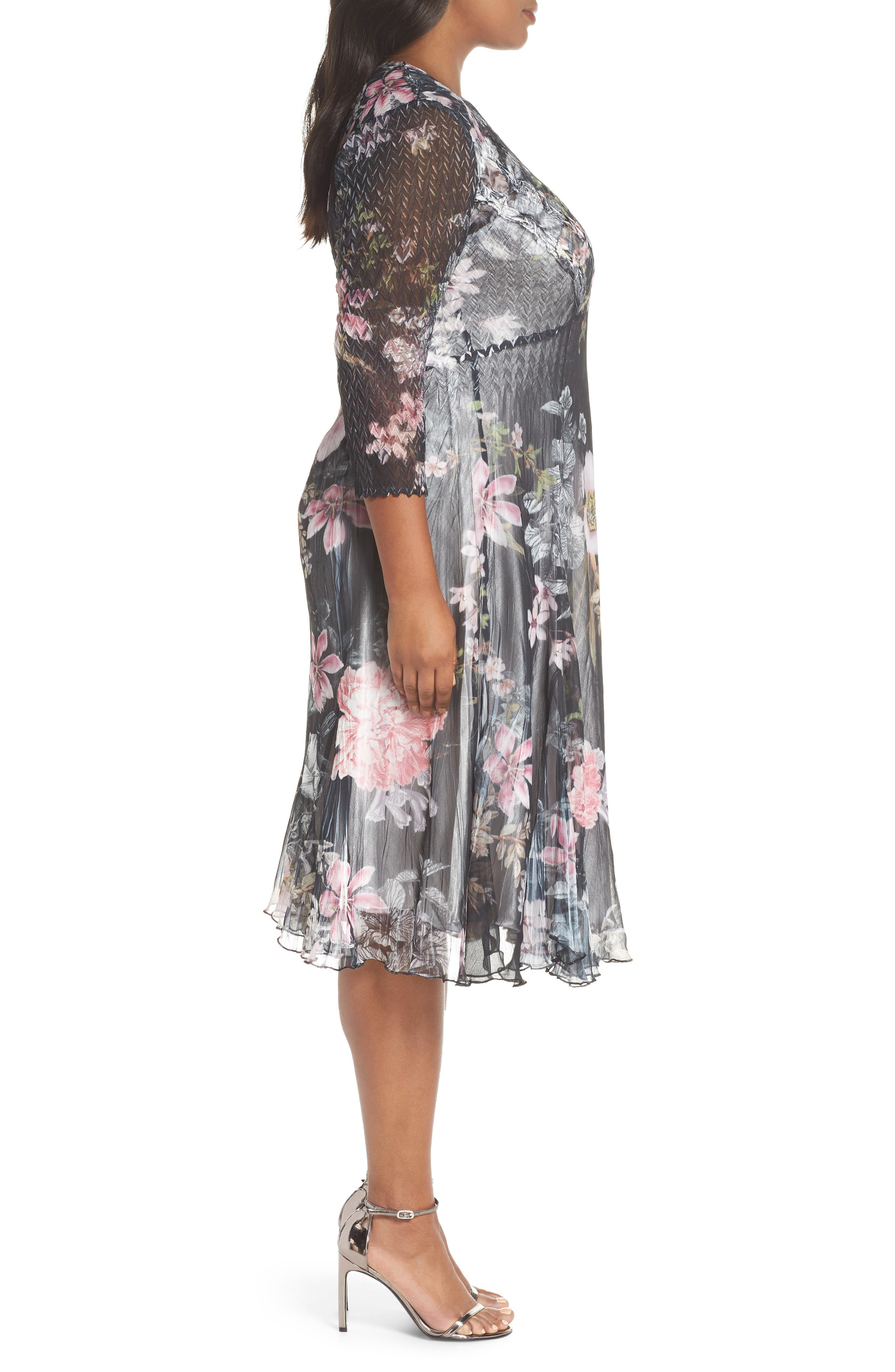 Kamarov Floral Charmeuse & Chiffon Floral A-Line Dress,                             Alternate thumbnail 3, color,                             001