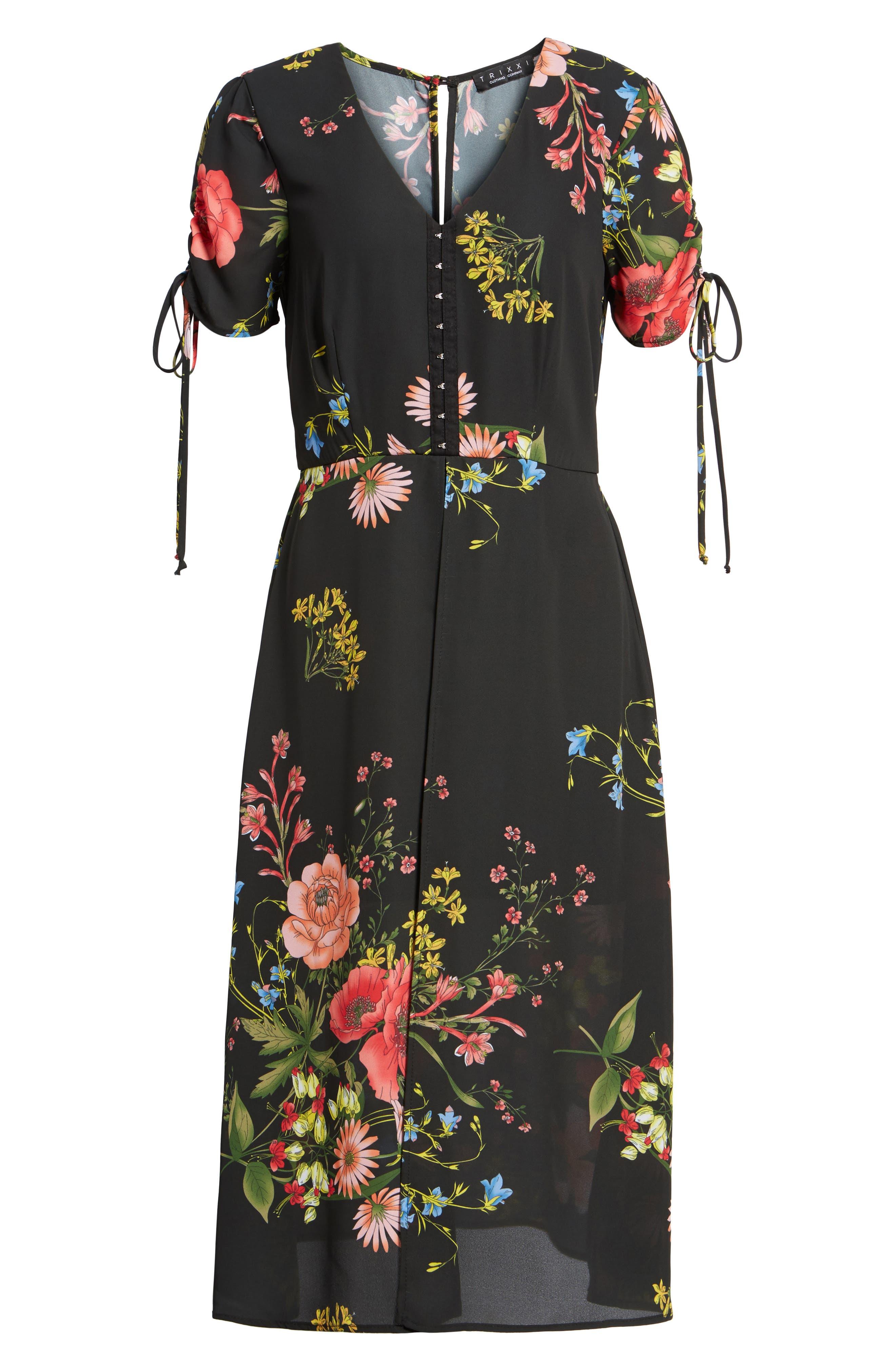 Floral Print Midi Romper,                             Alternate thumbnail 6, color,