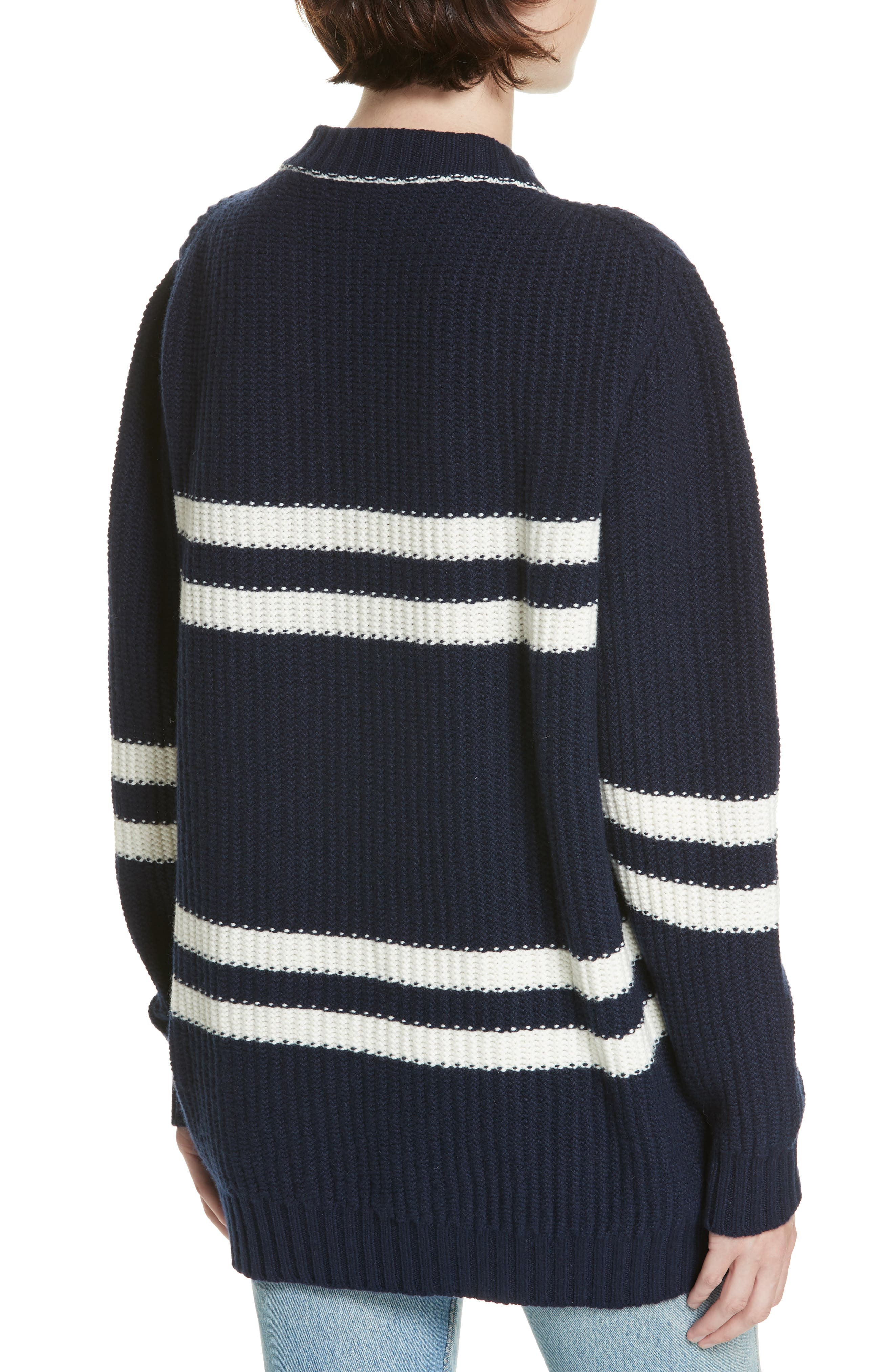 Tieve Stripe Cashmere & Cotton Sweater,                             Alternate thumbnail 2, color,                             NAVY/ ECRU
