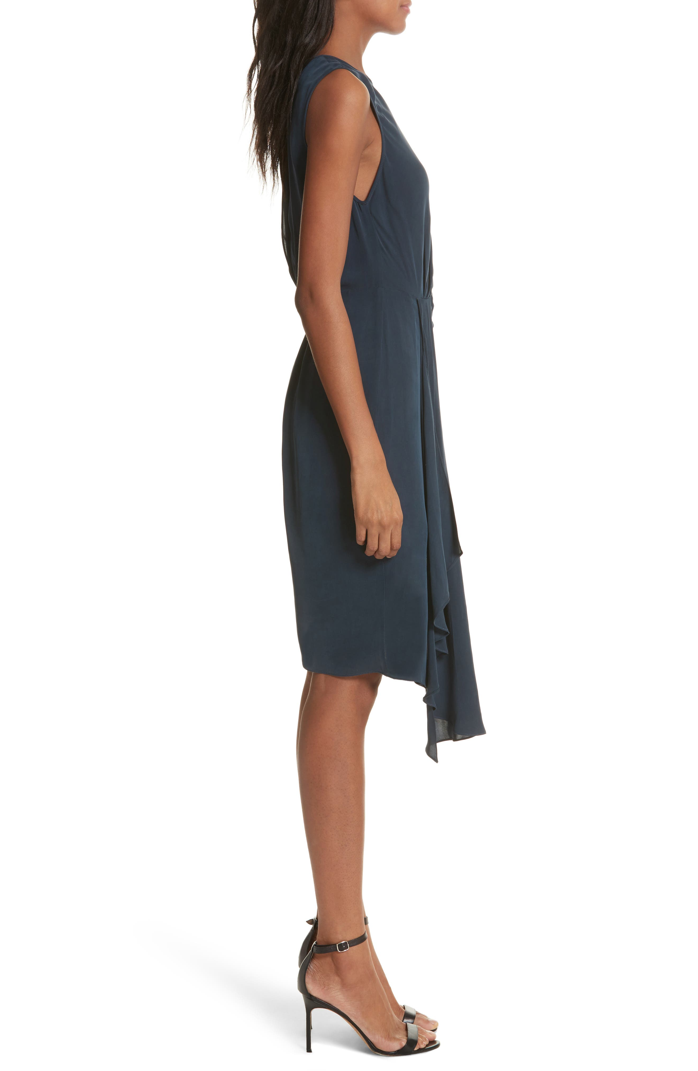 Rachael Front Drape Dress,                             Alternate thumbnail 3, color,                             410