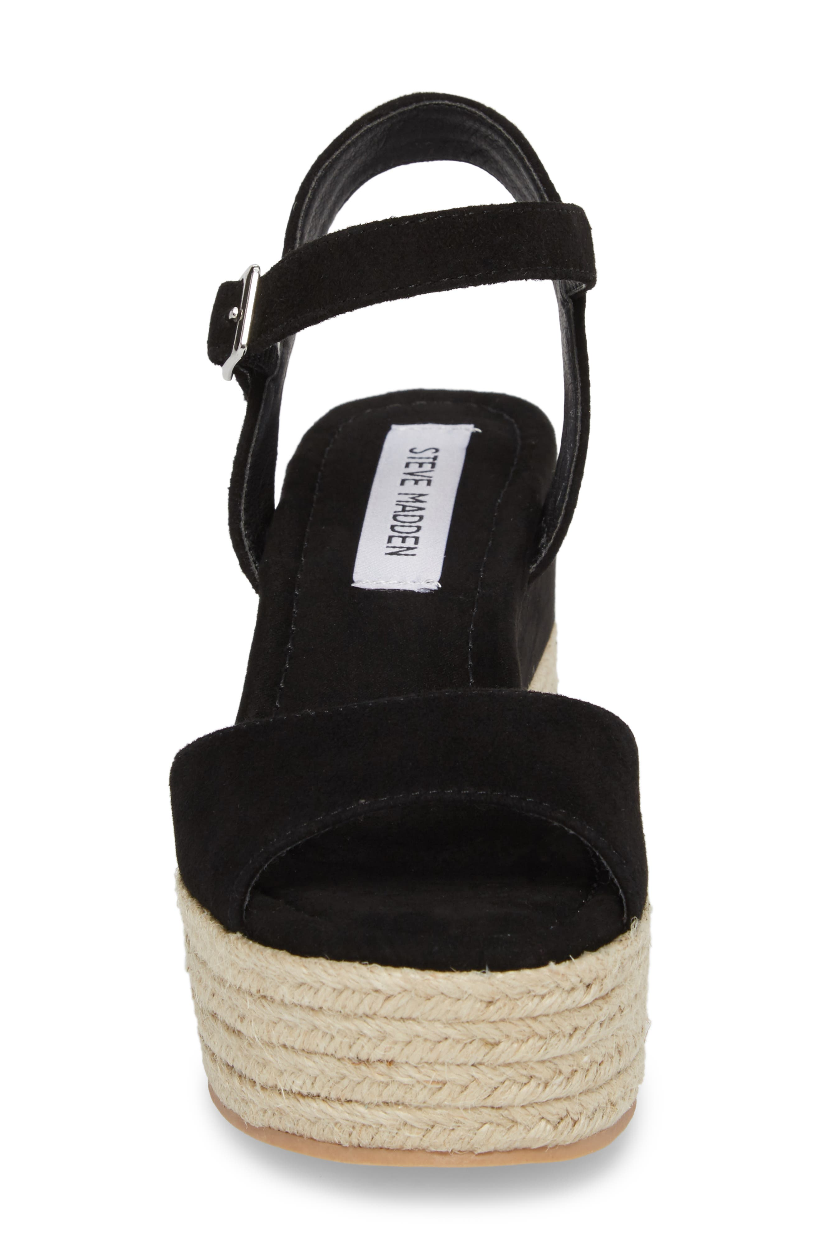 Kianna Espadrille Wedge Sandal,                             Alternate thumbnail 4, color,                             BLACK SUEDE
