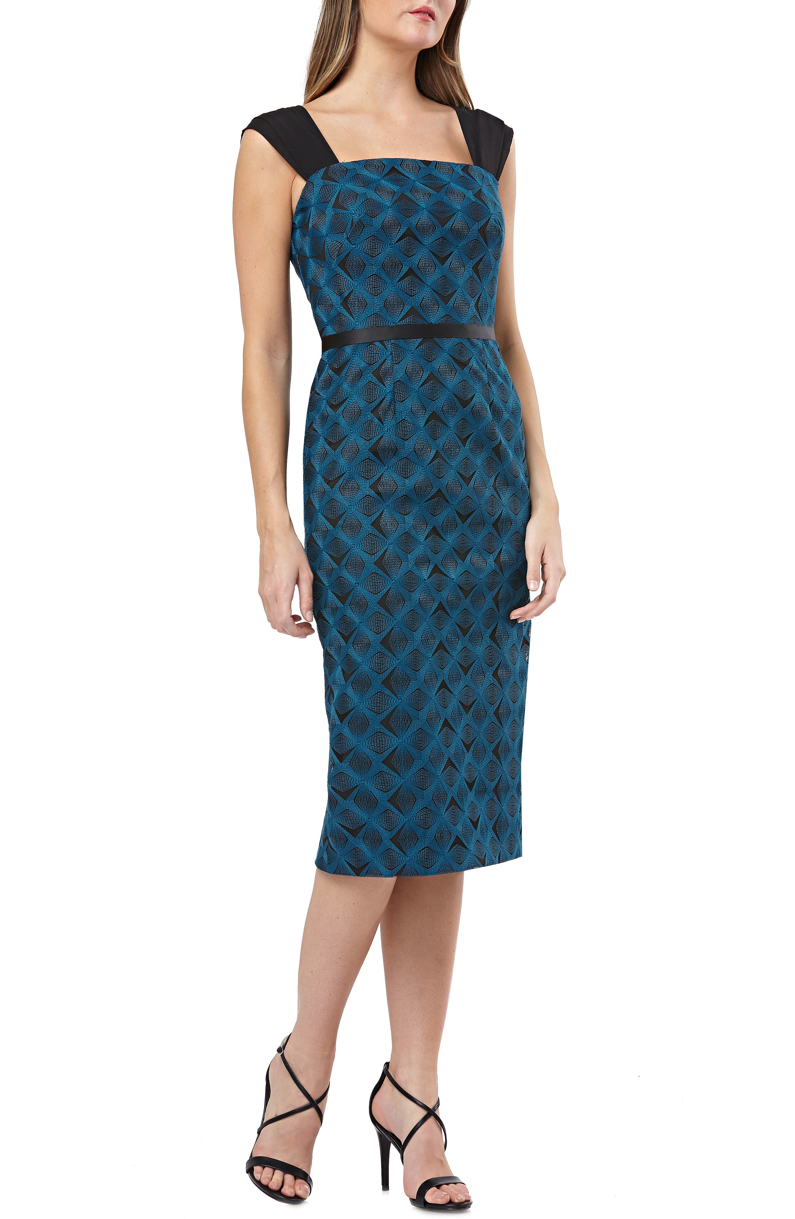 KAY UNGER Geometric Embroidered Sheath in Teal
