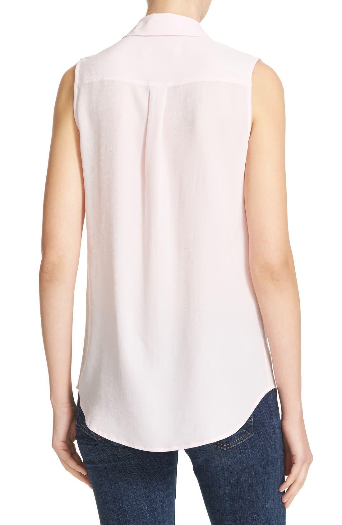 'Slim Signature' Sleeveless Silk Shirt,                             Alternate thumbnail 92, color,