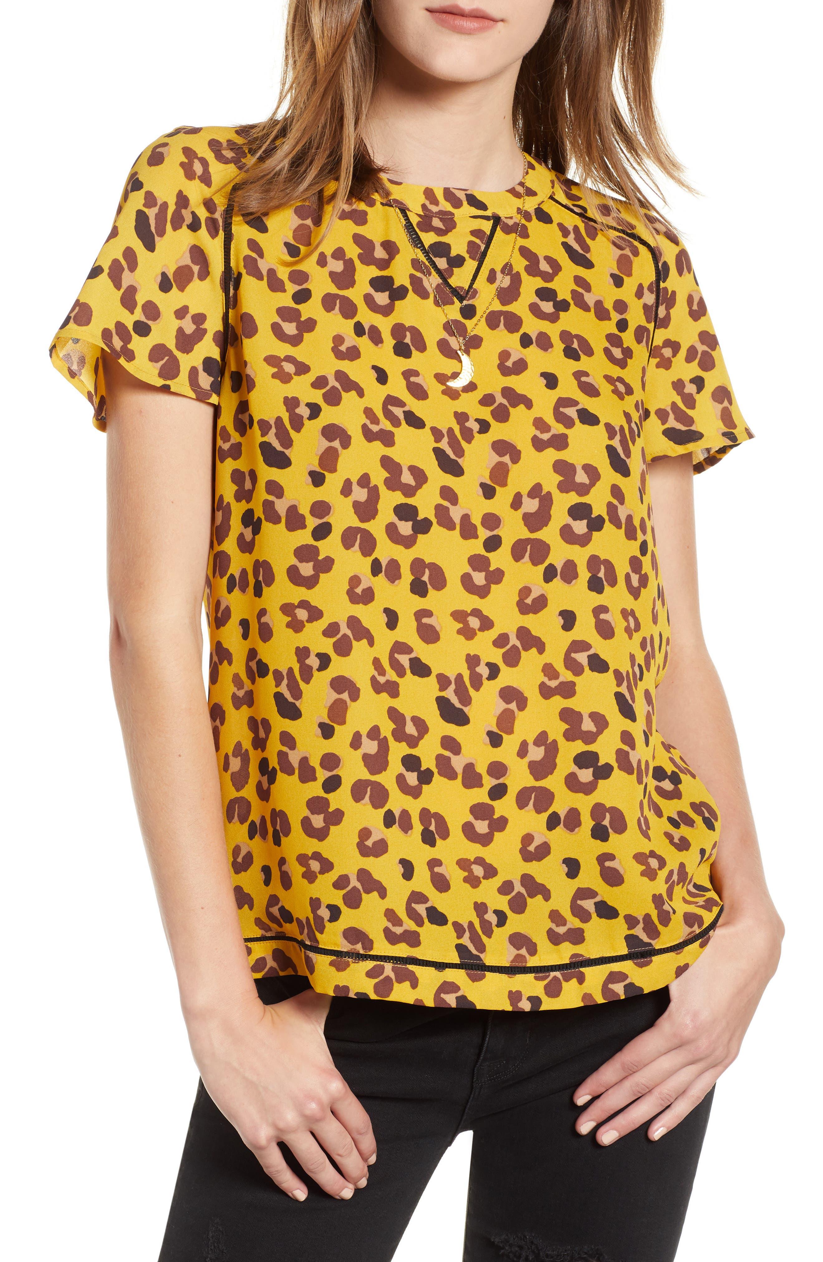 Leopard Print Top,                             Main thumbnail 1, color,                             YELLOW LEOPARD PRINT
