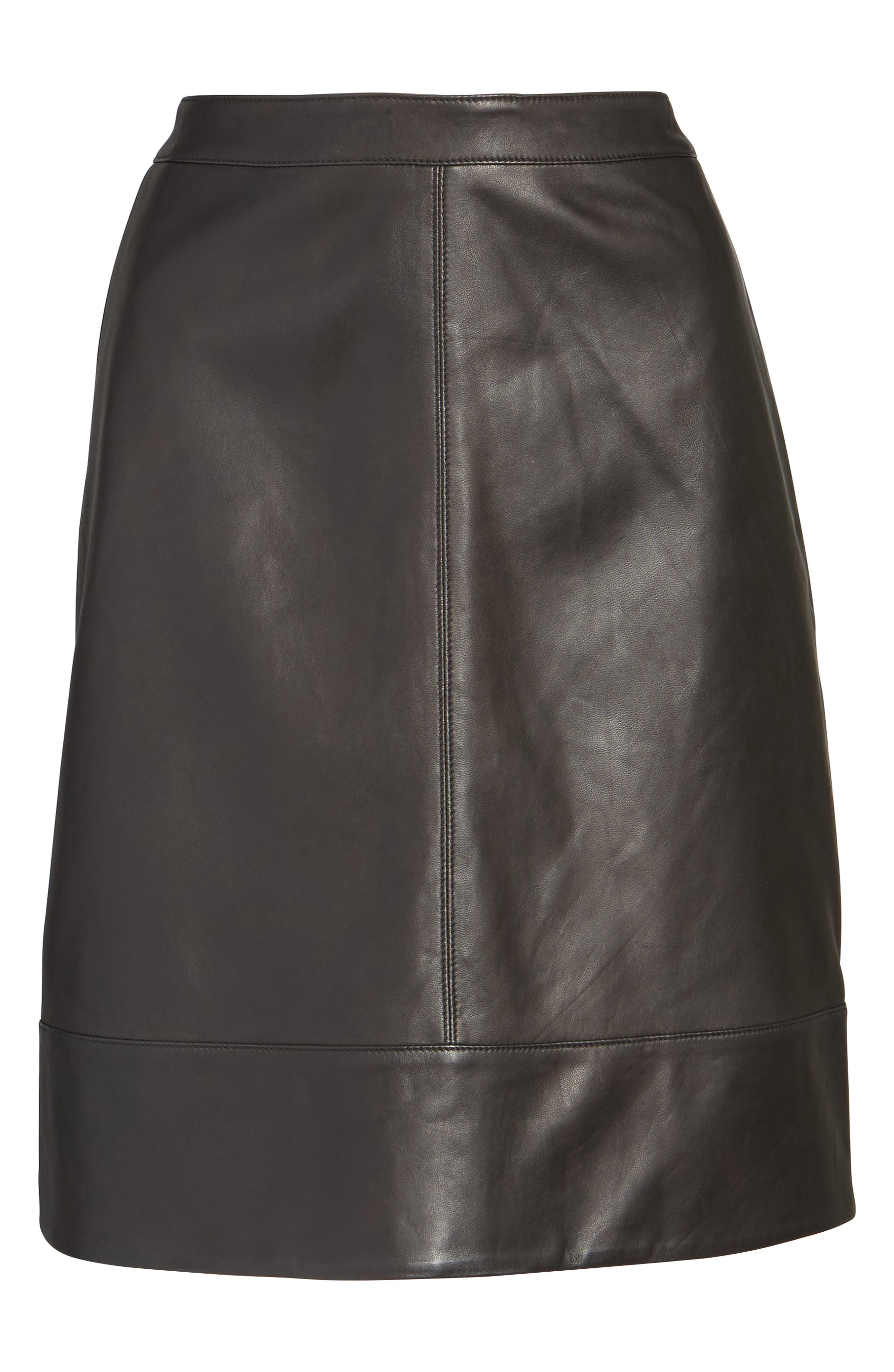 A-Line Leather Skirt,                             Alternate thumbnail 6, color,                             001