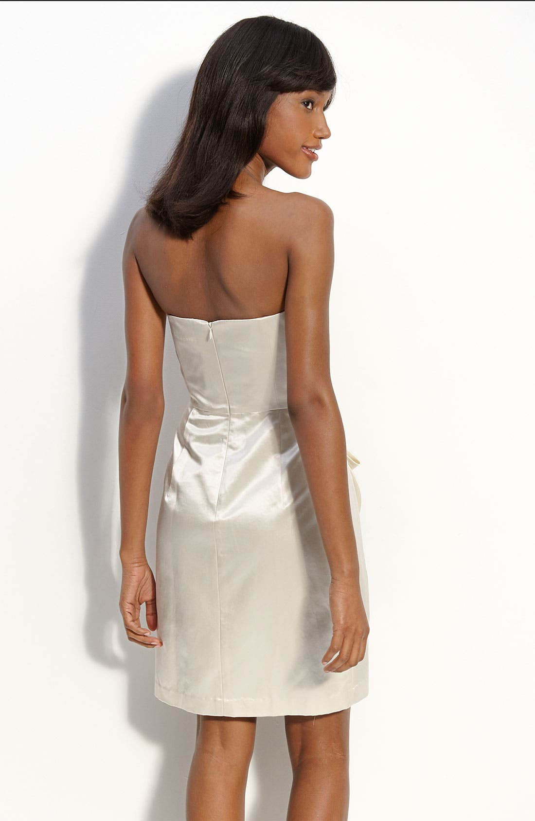 Bow Front Strapless Satin Dress,                             Alternate thumbnail 2, color,