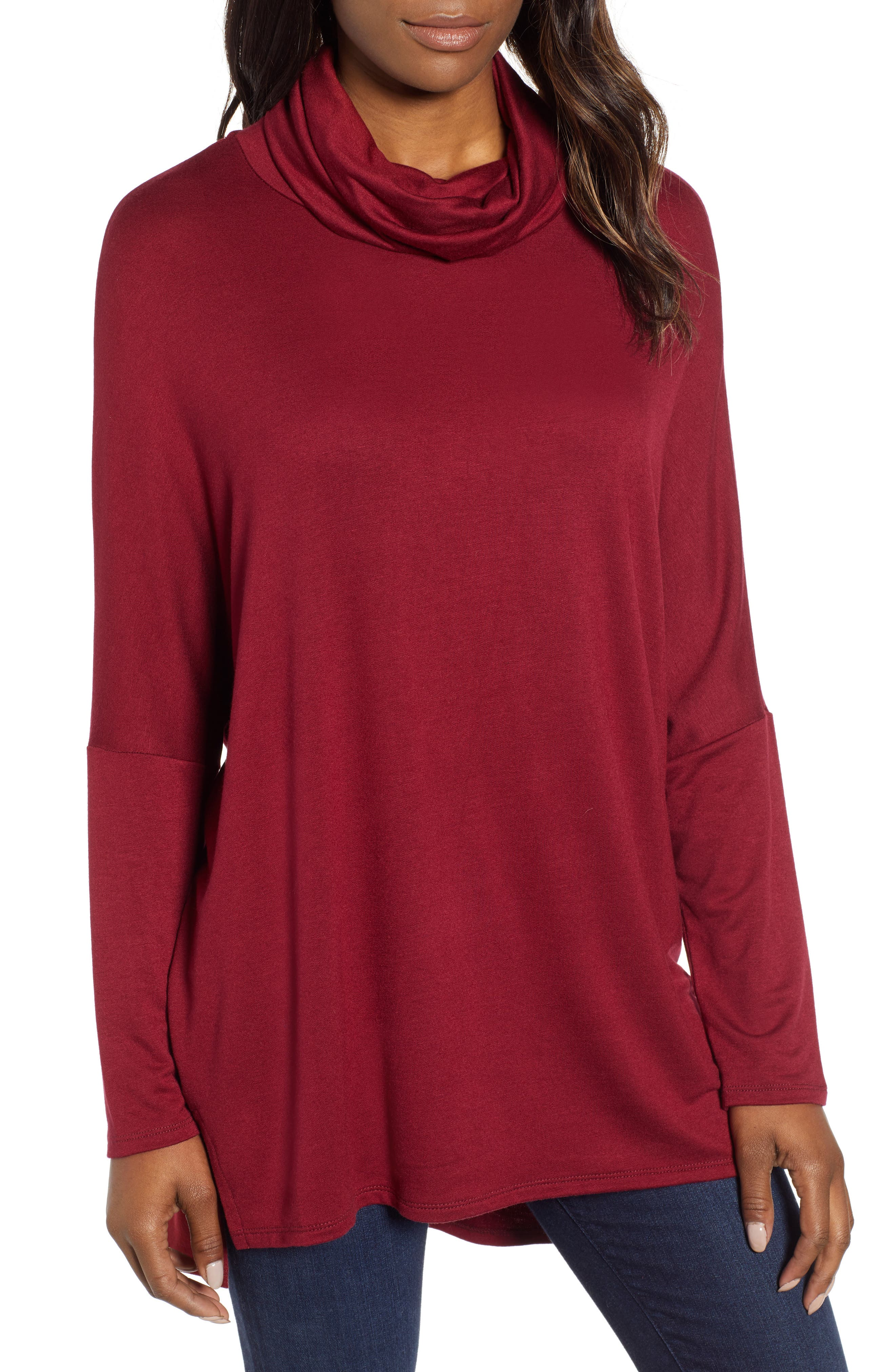 High/Low Tunic,                         Main,                         color, MAROON