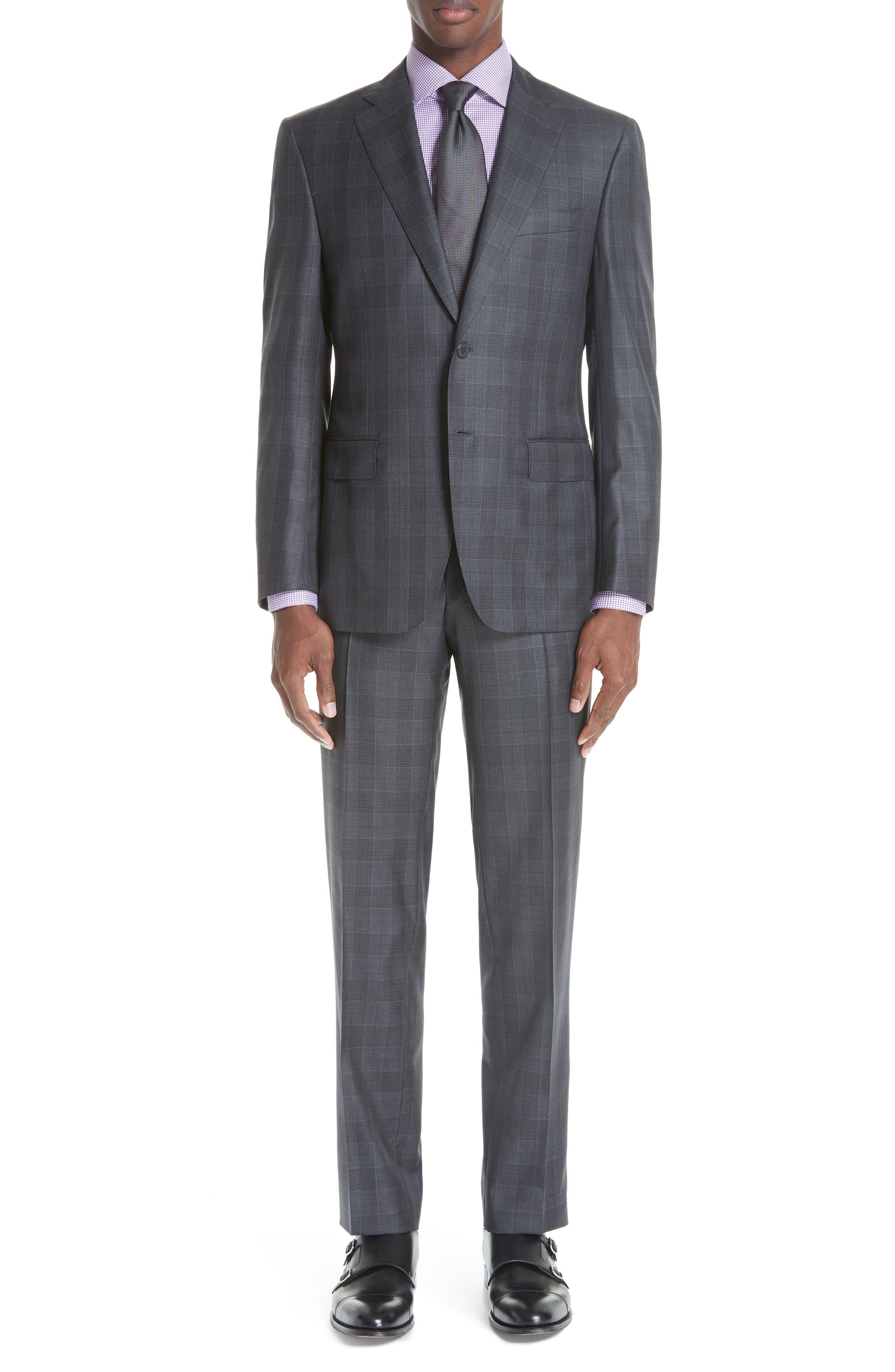 Classic Fit Plaid Wool Suit,                         Main,                         color, CHARCOAL