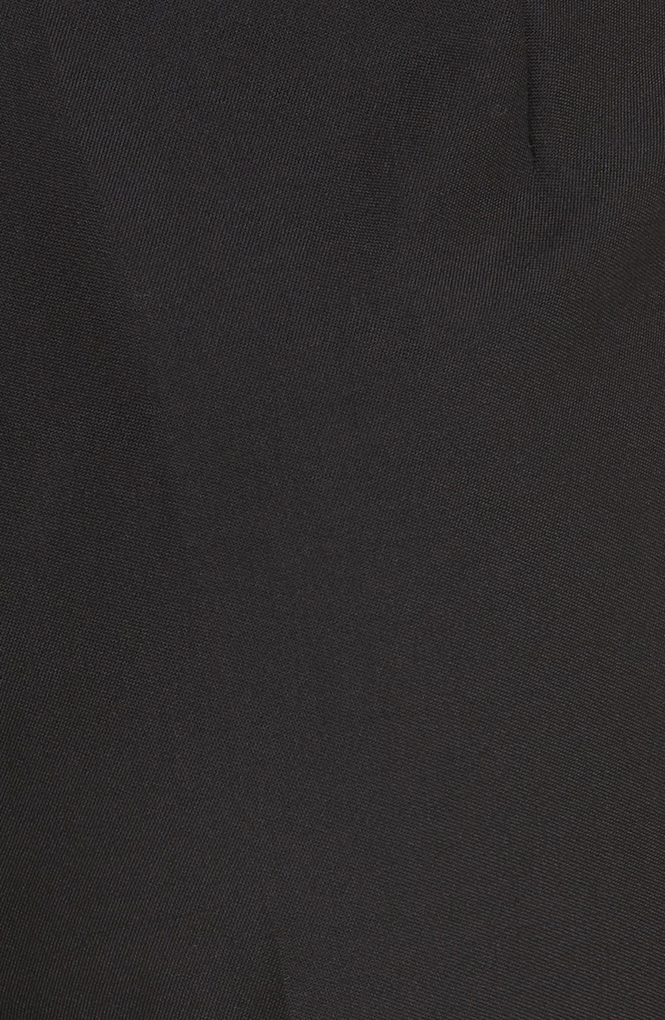Satin Stripe Wool Crop Pants,                             Alternate thumbnail 5, color,                             POLO BLACK
