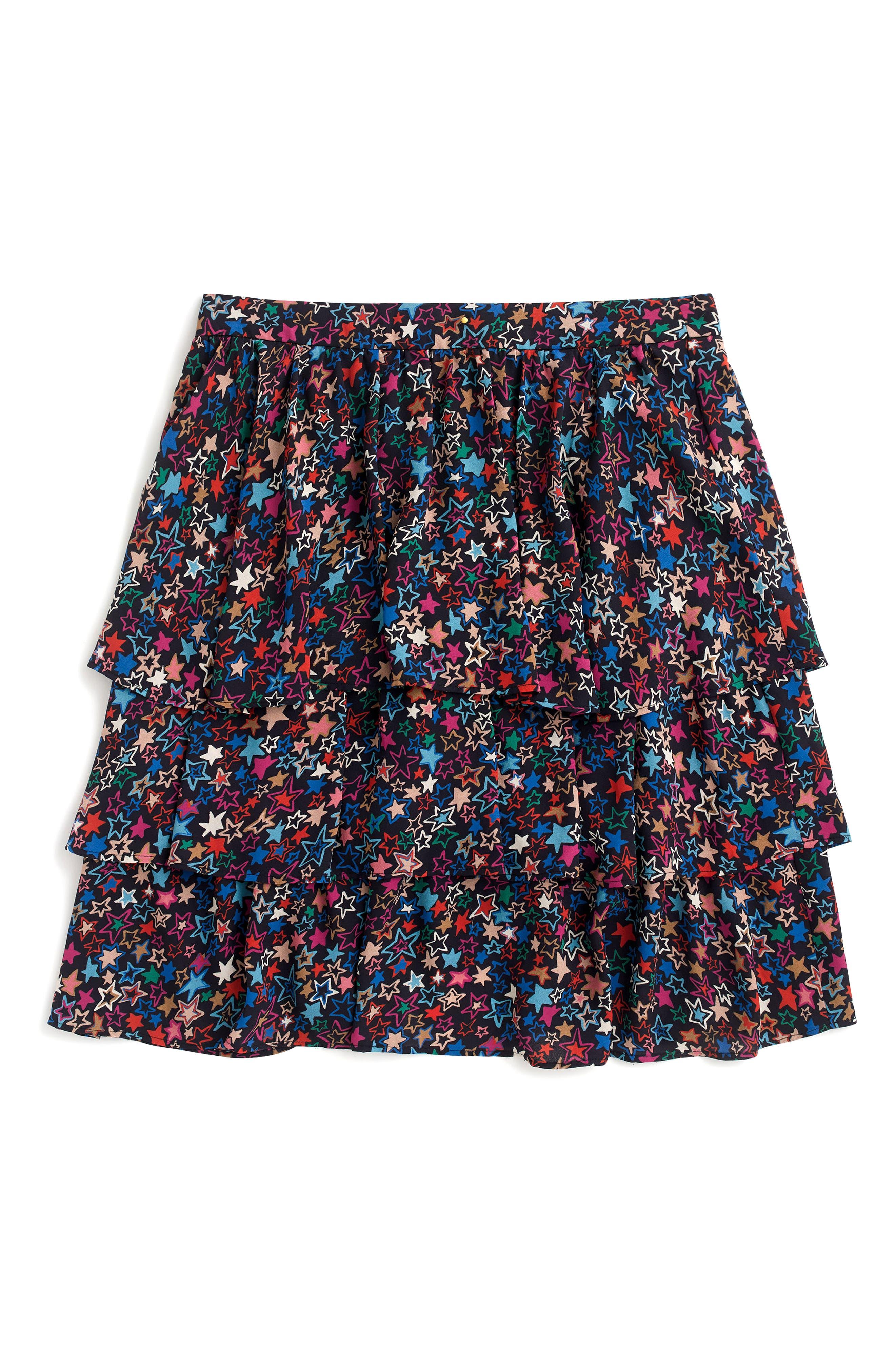 J.CREW,                             Star Print Tiered Skirt,                             Alternate thumbnail 4, color,                             409