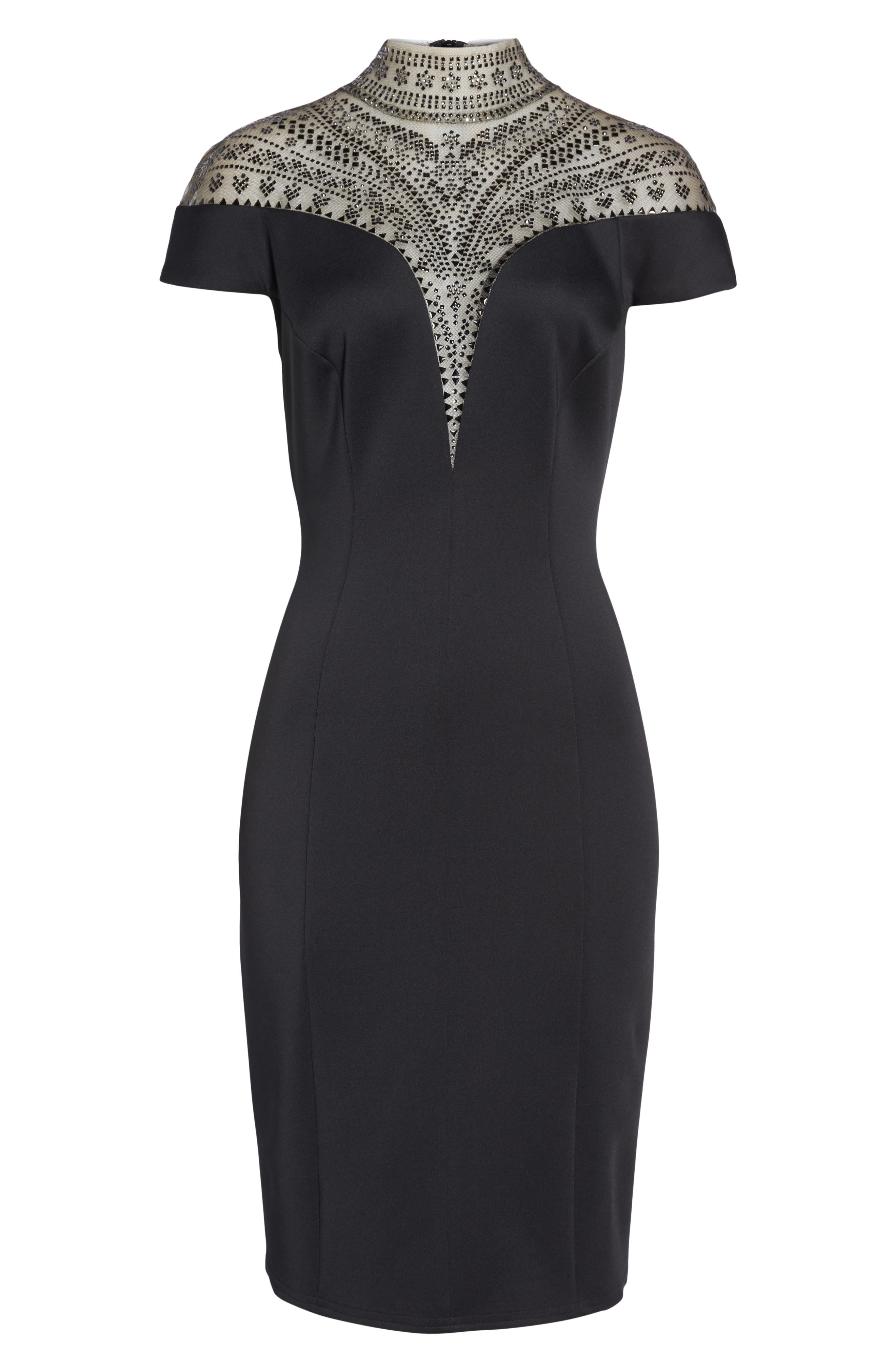 Embellished Illusion Body-Con Dress,                             Alternate thumbnail 6, color,                             001