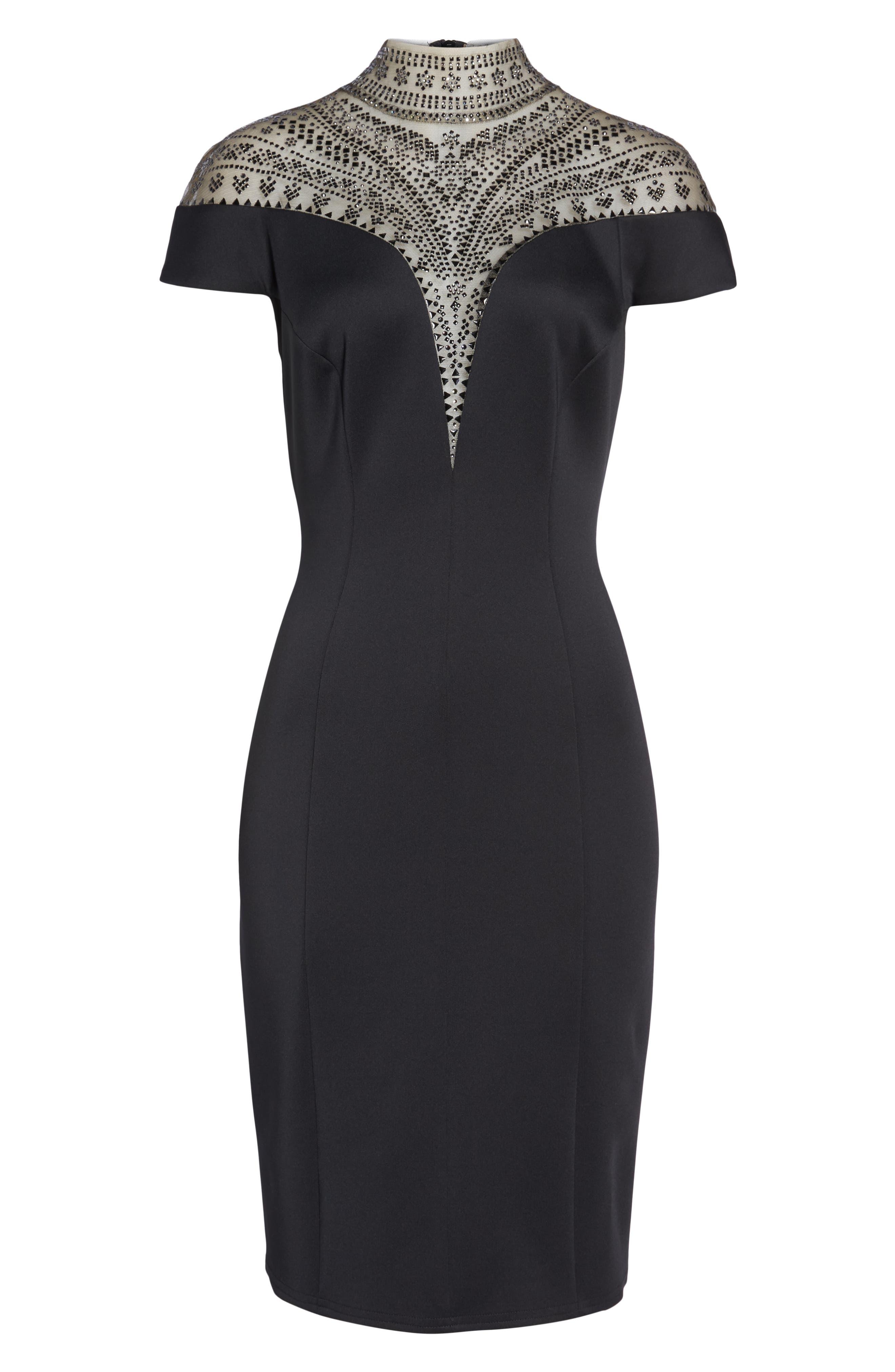 Embellished Illusion Body-Con Dress,                             Alternate thumbnail 6, color,                             BLACK