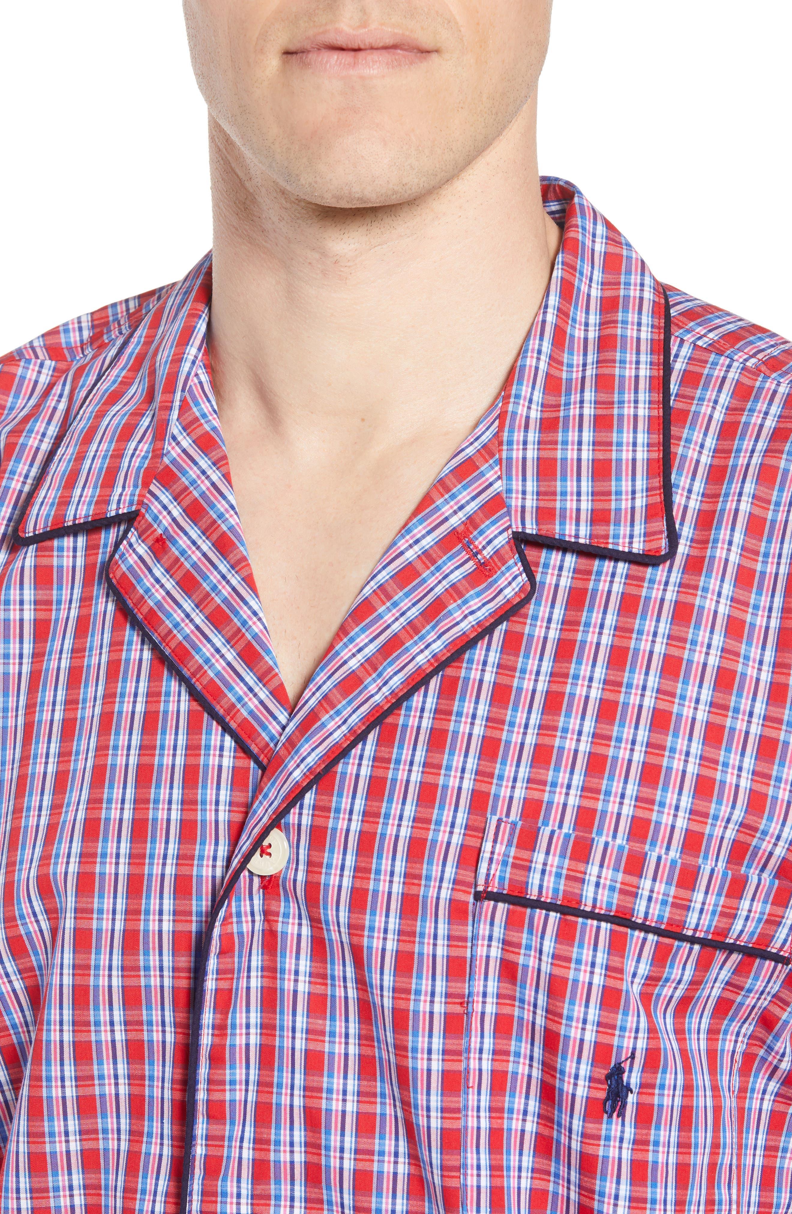 Cotton Pajama Shirt,                             Alternate thumbnail 4, color,                             NEWPORT PLAID/ NAVY