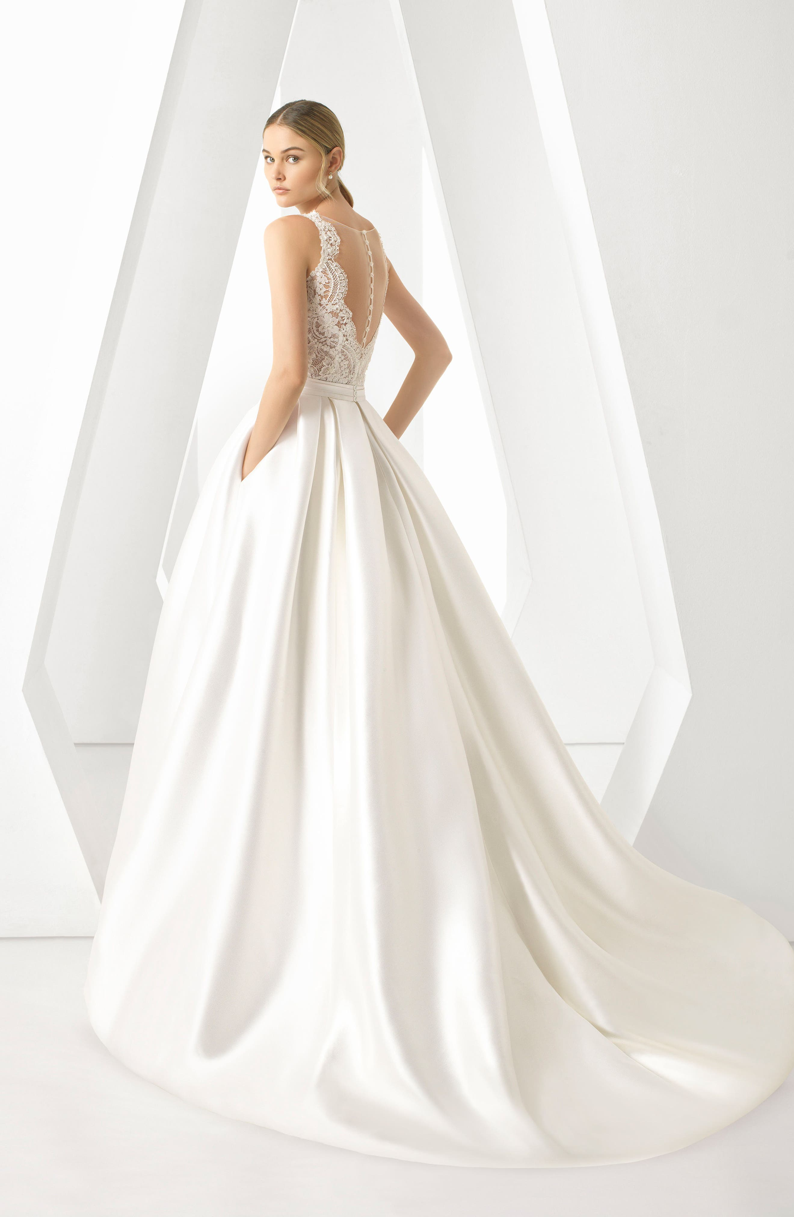 Rosa Clará Dorano V-Neck Gown with Ballgown Overskirt,                             Alternate thumbnail 2, color,                             NATURAL