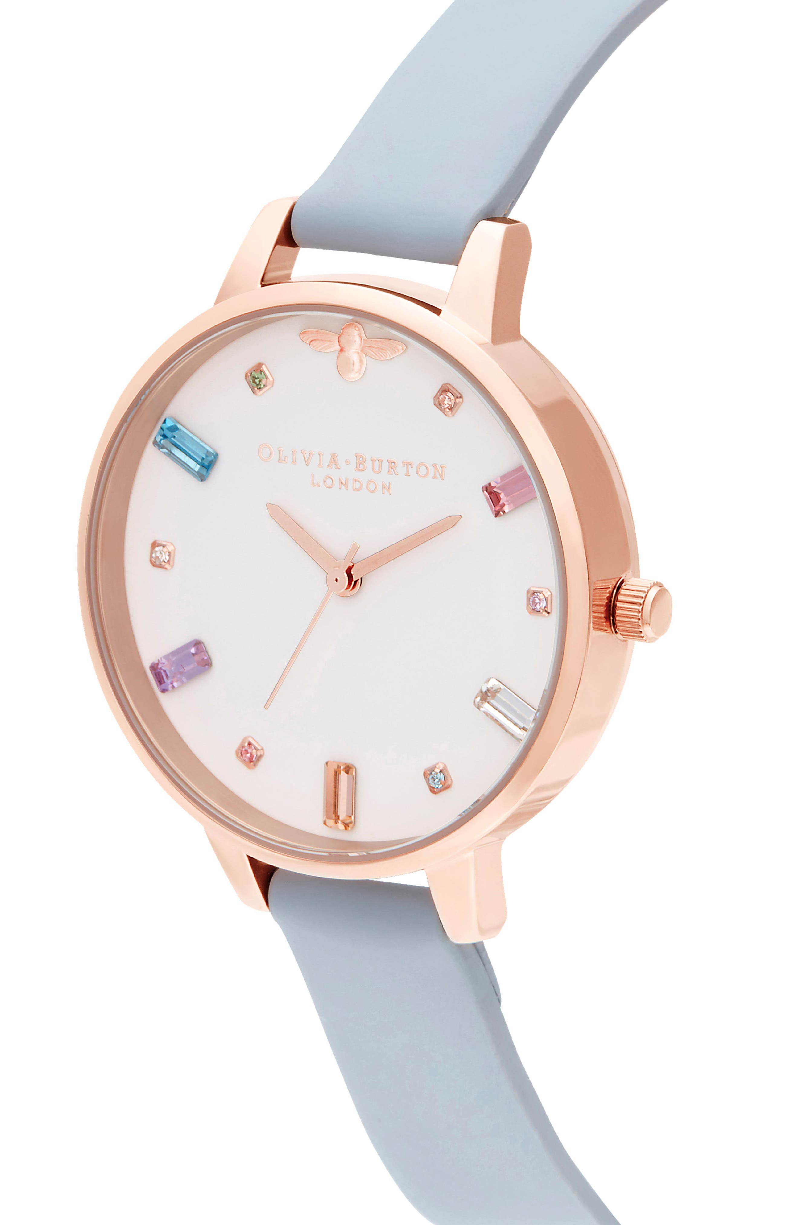 Rainbow Stone Leather Strap Watch, 34mm,                             Alternate thumbnail 4, color,                             CHALK BUE/ WHITE/ ROSE GOLD