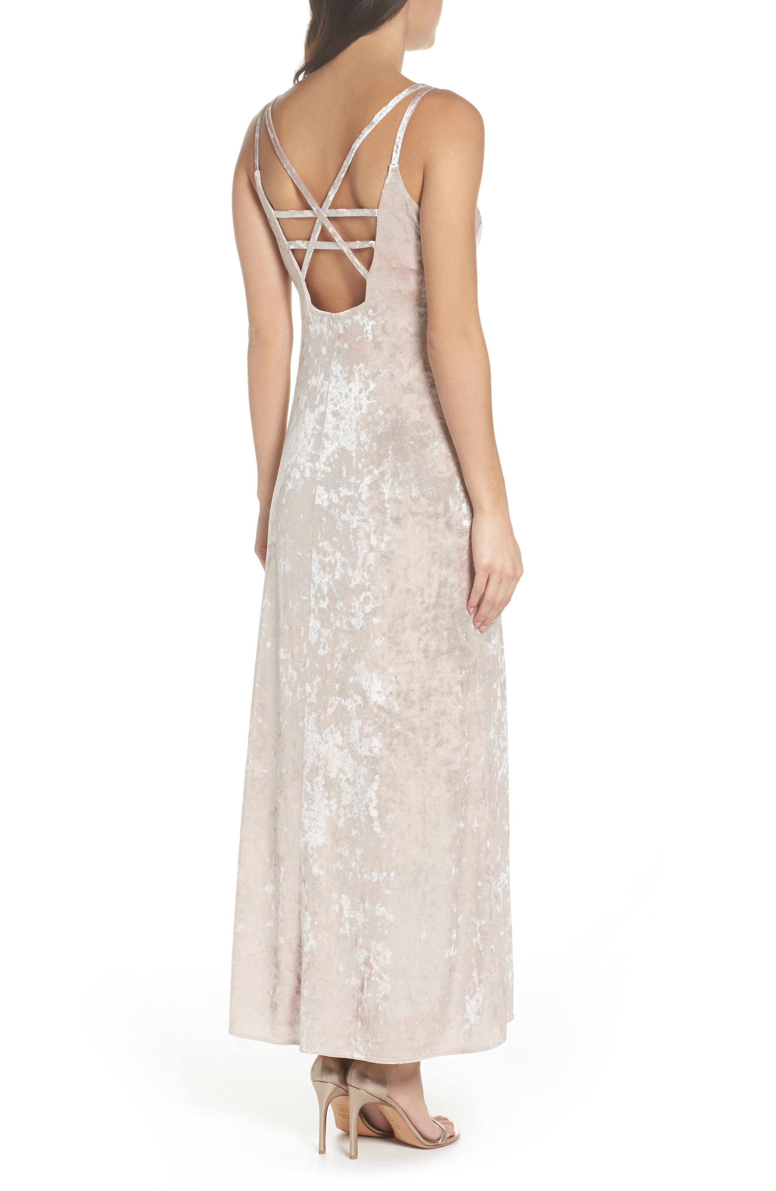 Strappy Velvet Gown,                             Alternate thumbnail 2, color,                             273