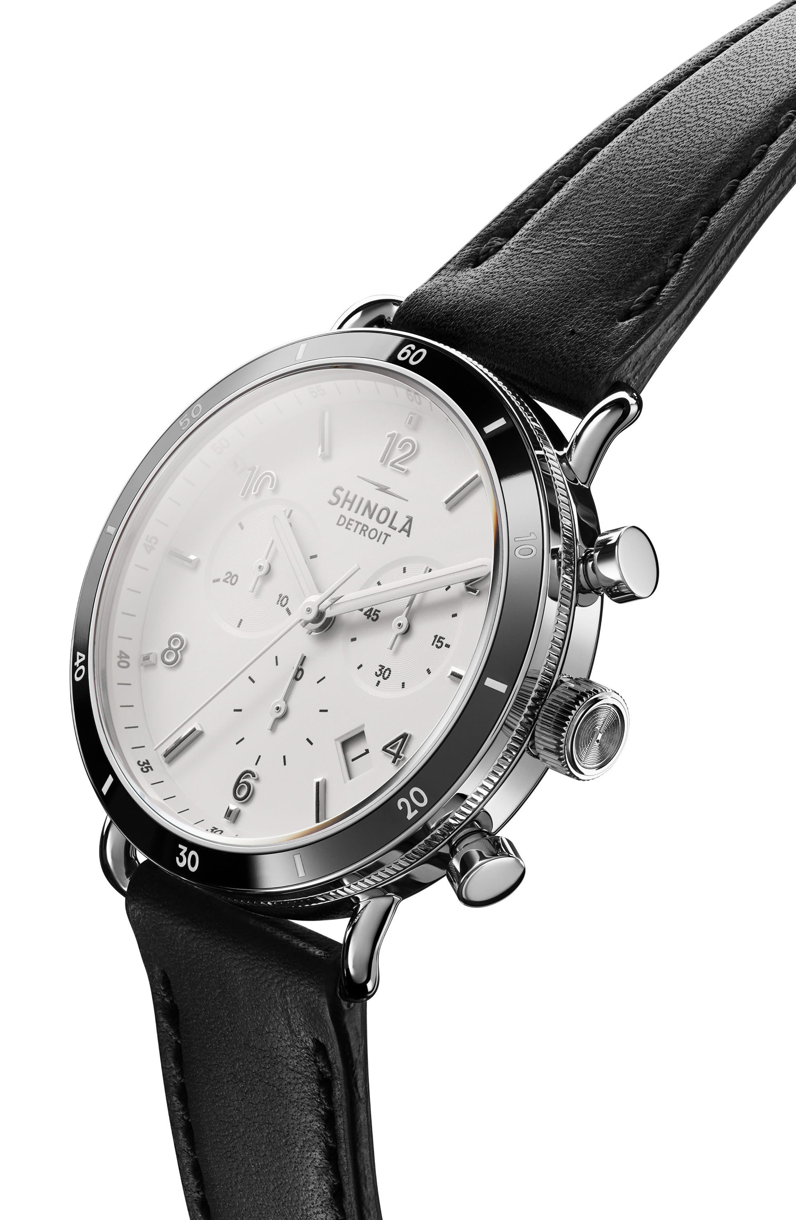 The Canfield Chrono Leather Strap Watch, 40mm,                             Alternate thumbnail 5, color,                             BLACK/ WHITE/ SILVER
