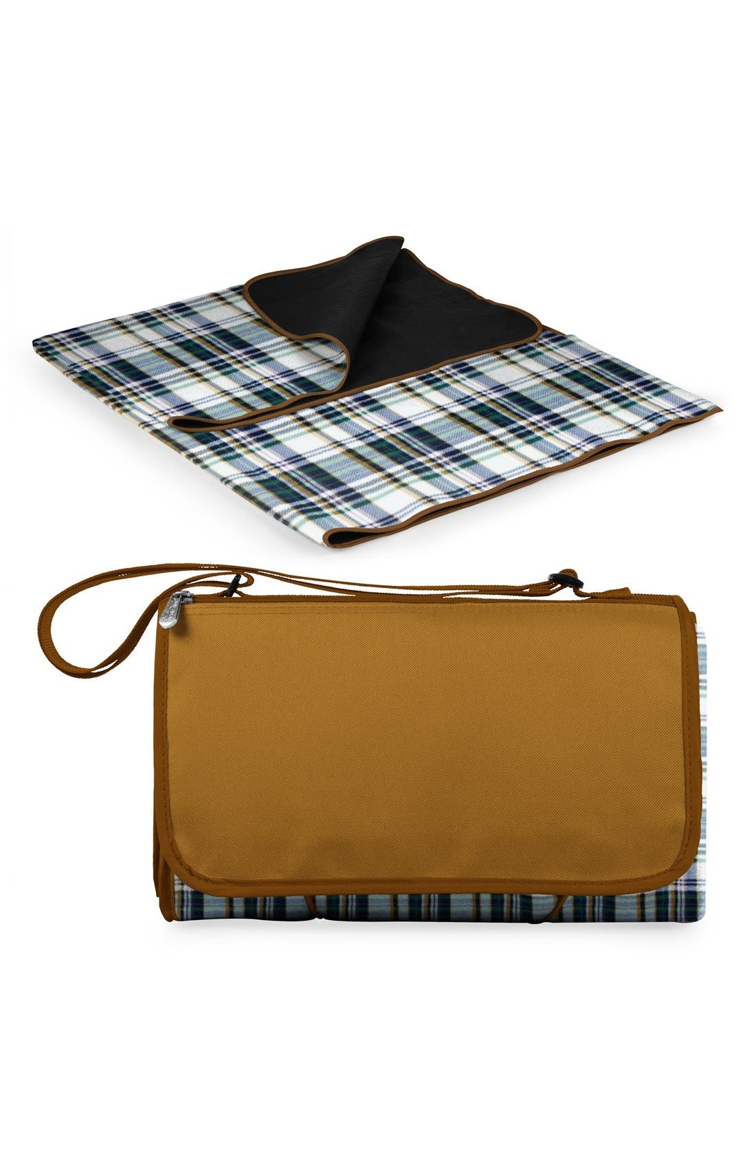 'English Plaid XL' Fold-Up Blanket Tote,                             Alternate thumbnail 4, color,                             BROWN