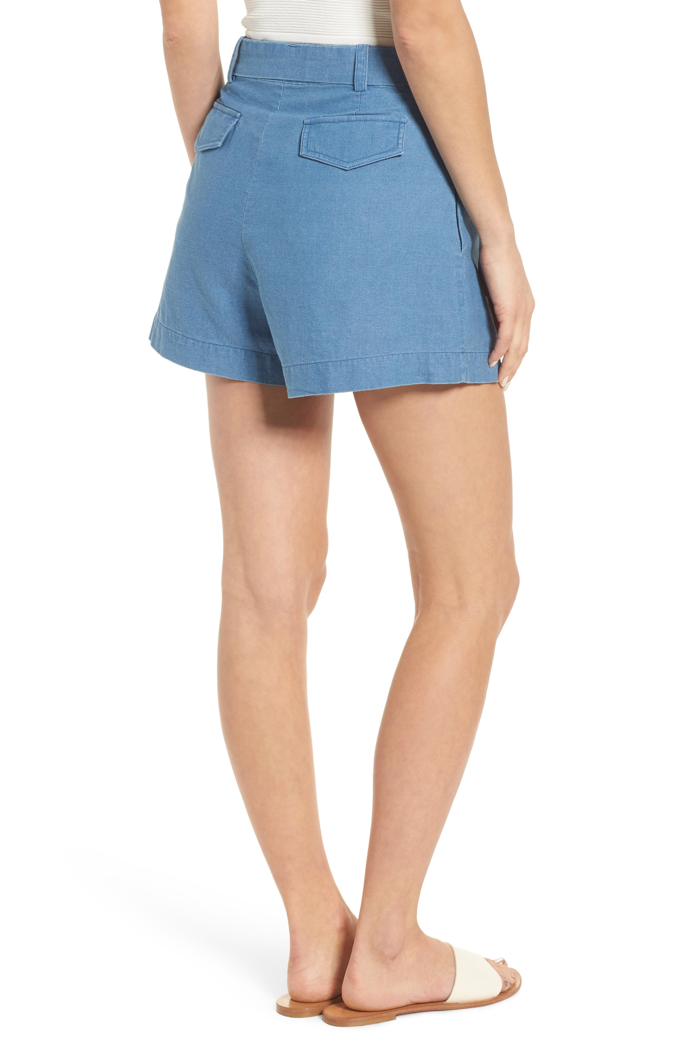Tie Front Chambray Shorts,                             Alternate thumbnail 2, color,                             400