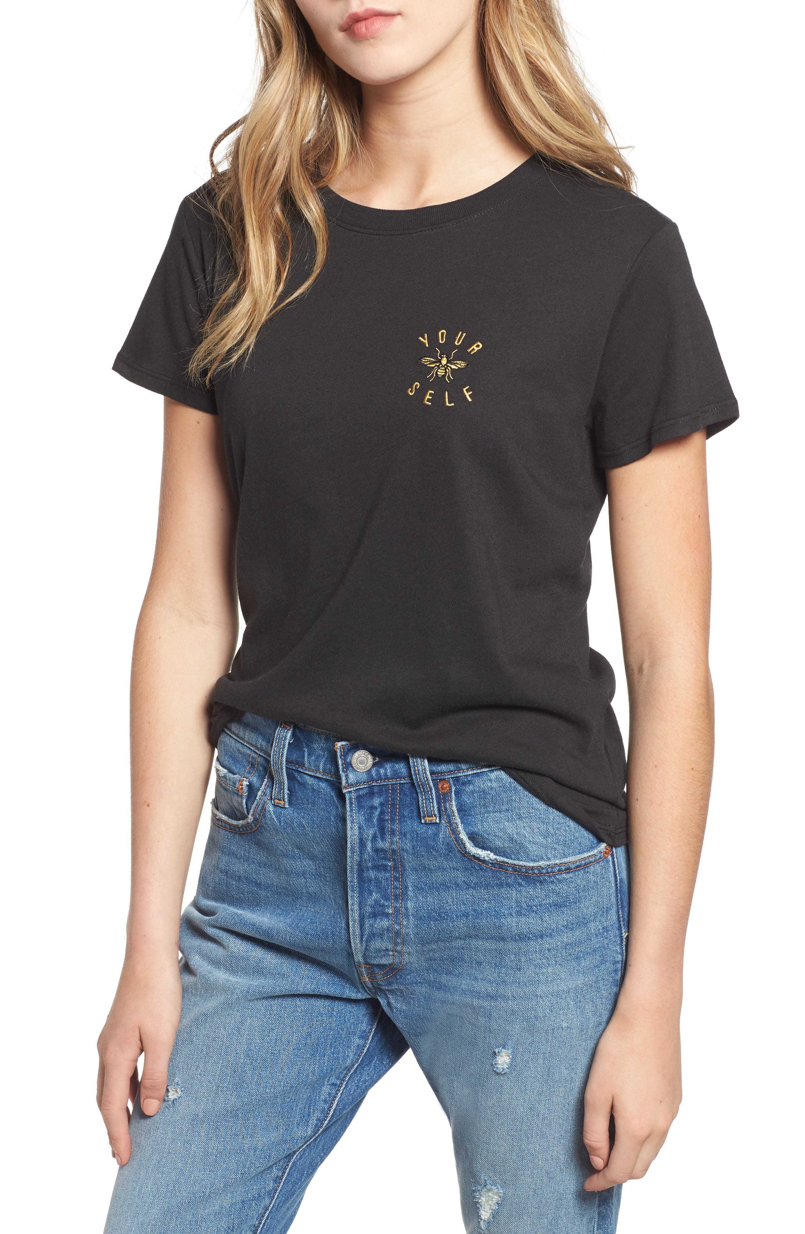 Bee Yourself Slouched Tee,                             Main thumbnail 1, color,                             BLACK
