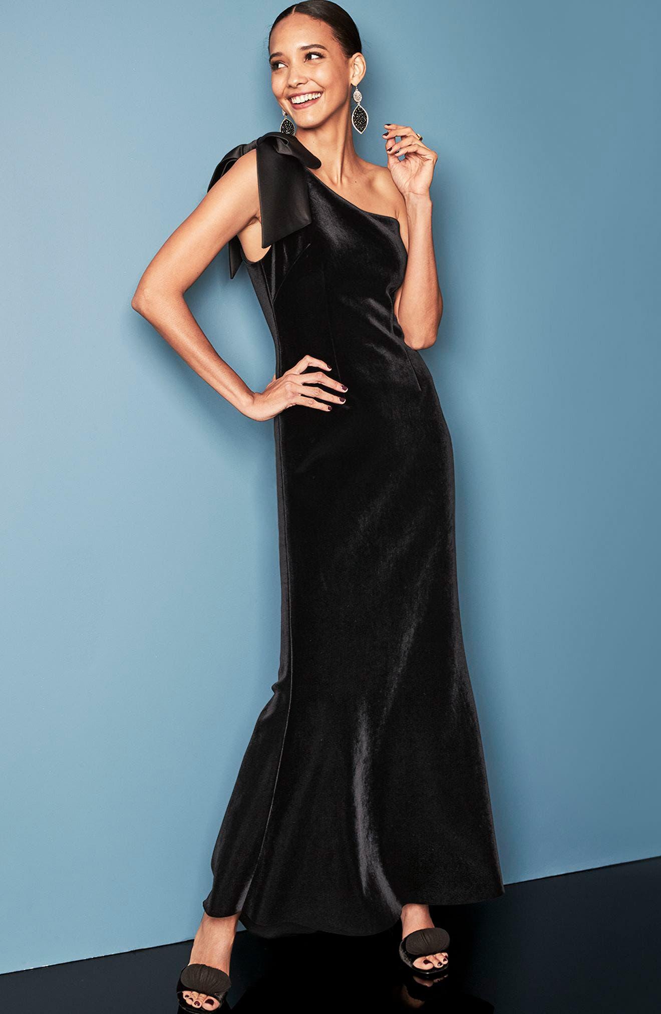 Bow One-Shoulder Velvet Gown,                             Alternate thumbnail 8, color,                             STEEL