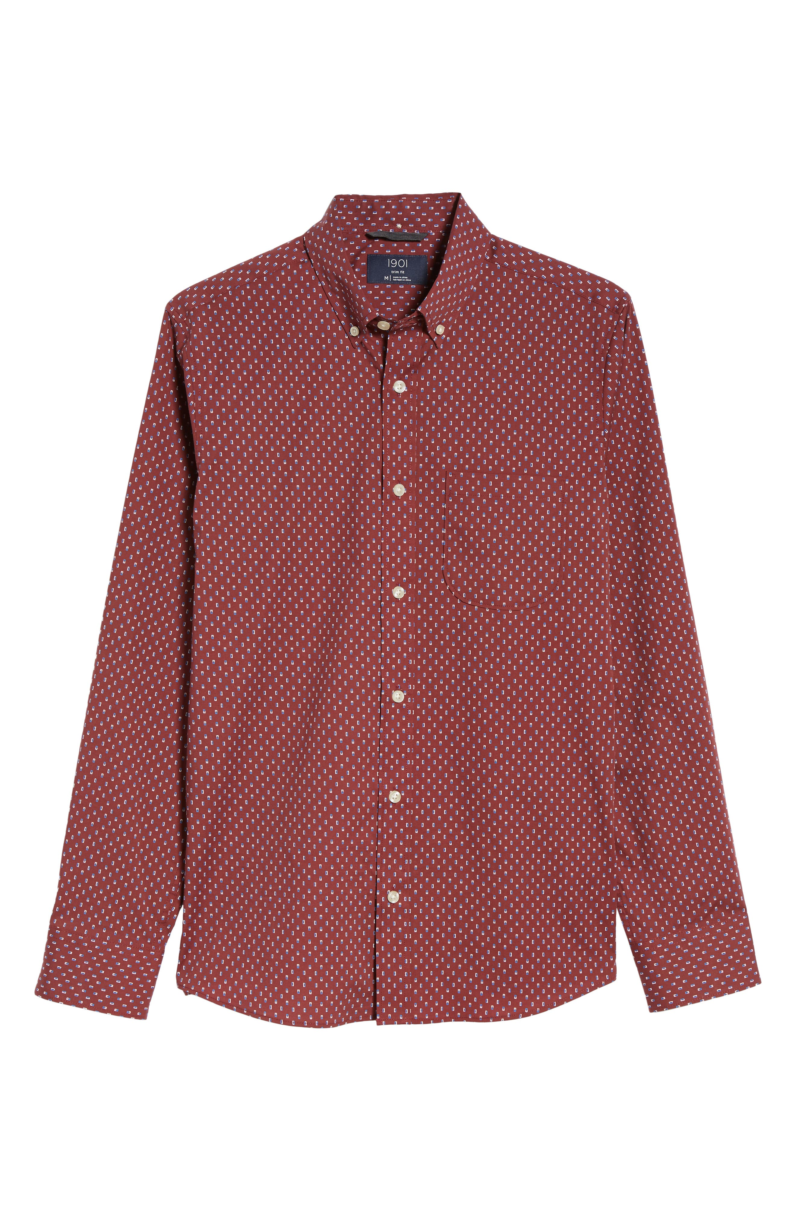 Trim Fit Box Print Sport Shirt,                             Alternate thumbnail 6, color,