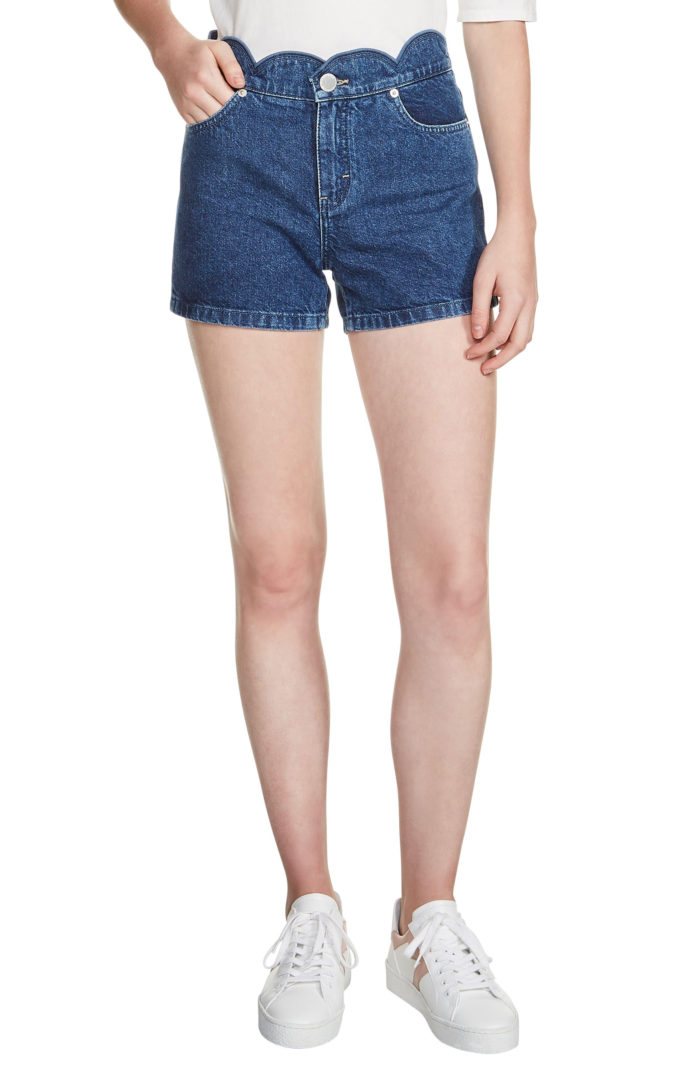 MAJE Shafti Scallop Waist Denim Shorts, Main, color, 400