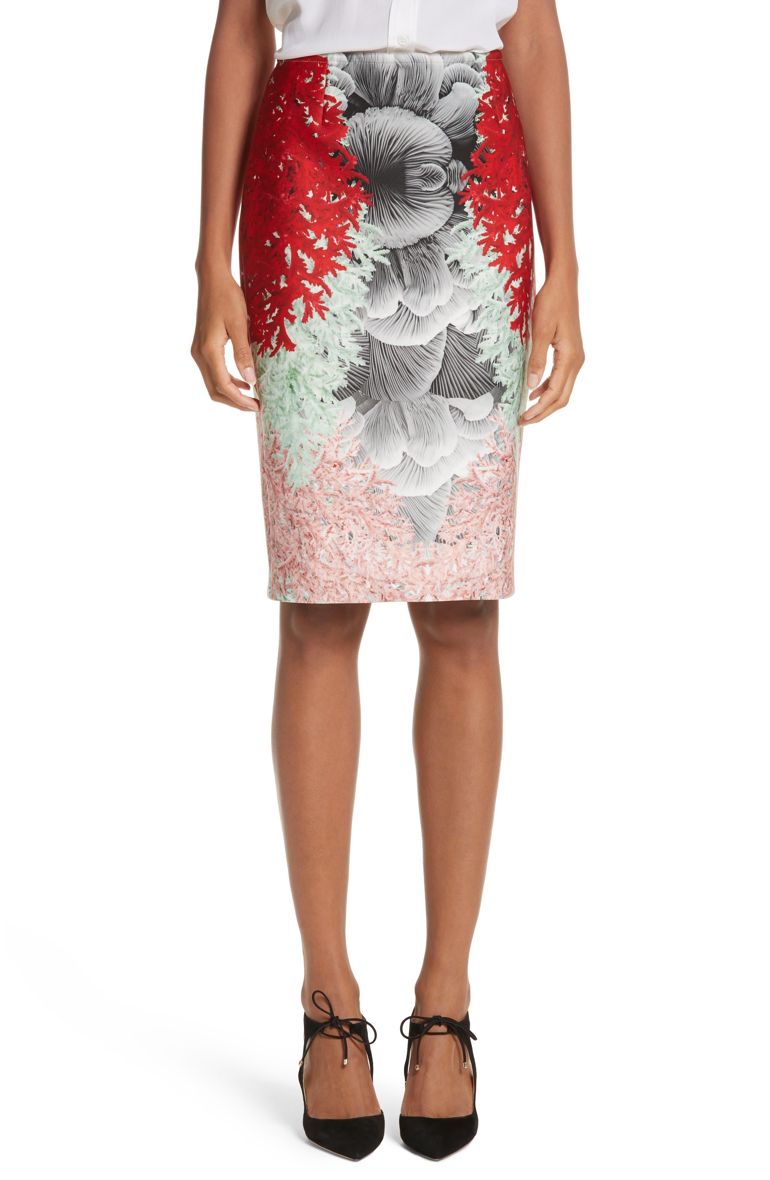Coral Print Scuba Pencil Skirt,                             Main thumbnail 1, color,                             650