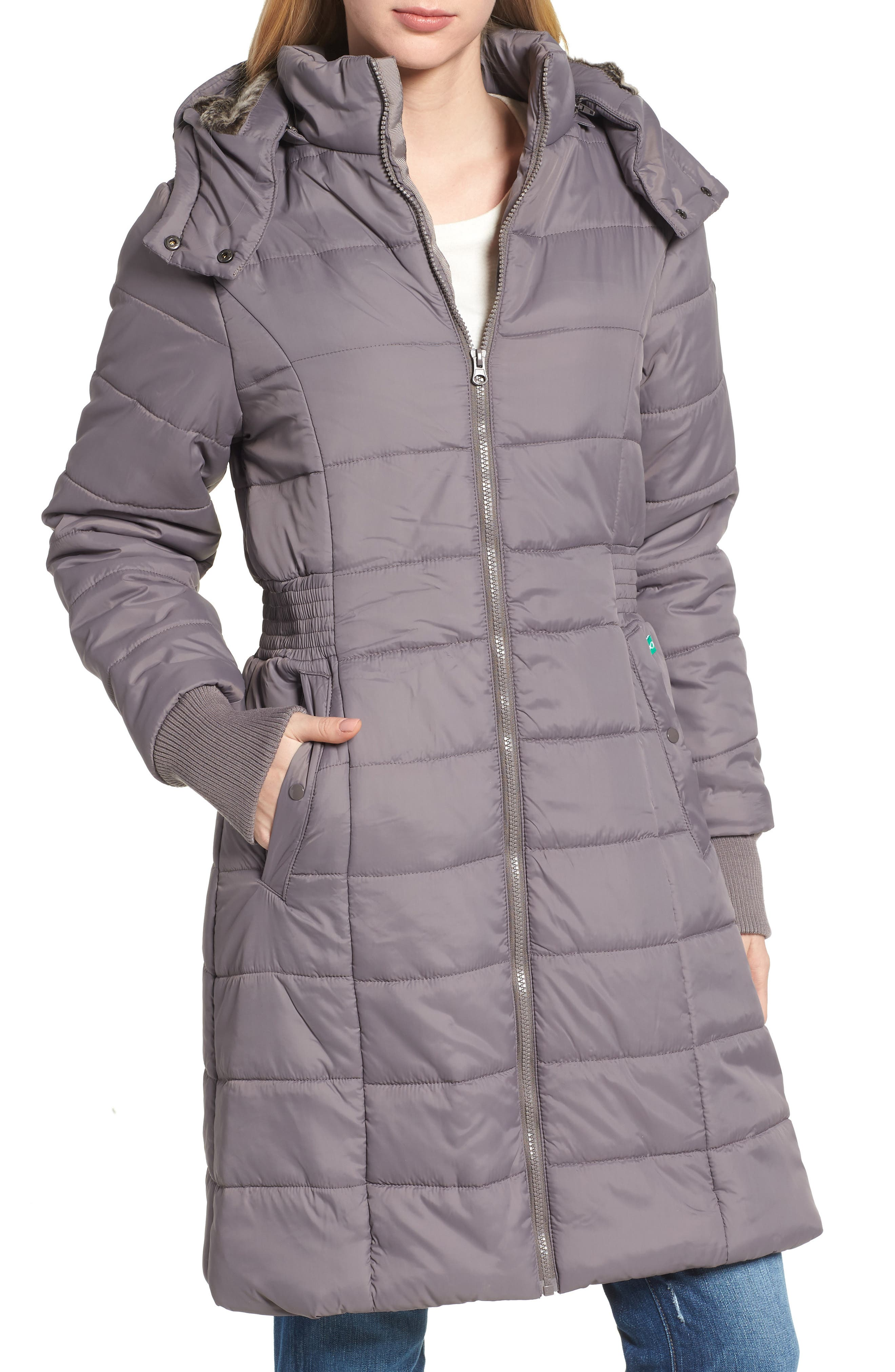 Madison Quilted 3-in-1 Maternity Puffer Coat with Faux Fur Trim,                             Alternate thumbnail 3, color,                             GREY