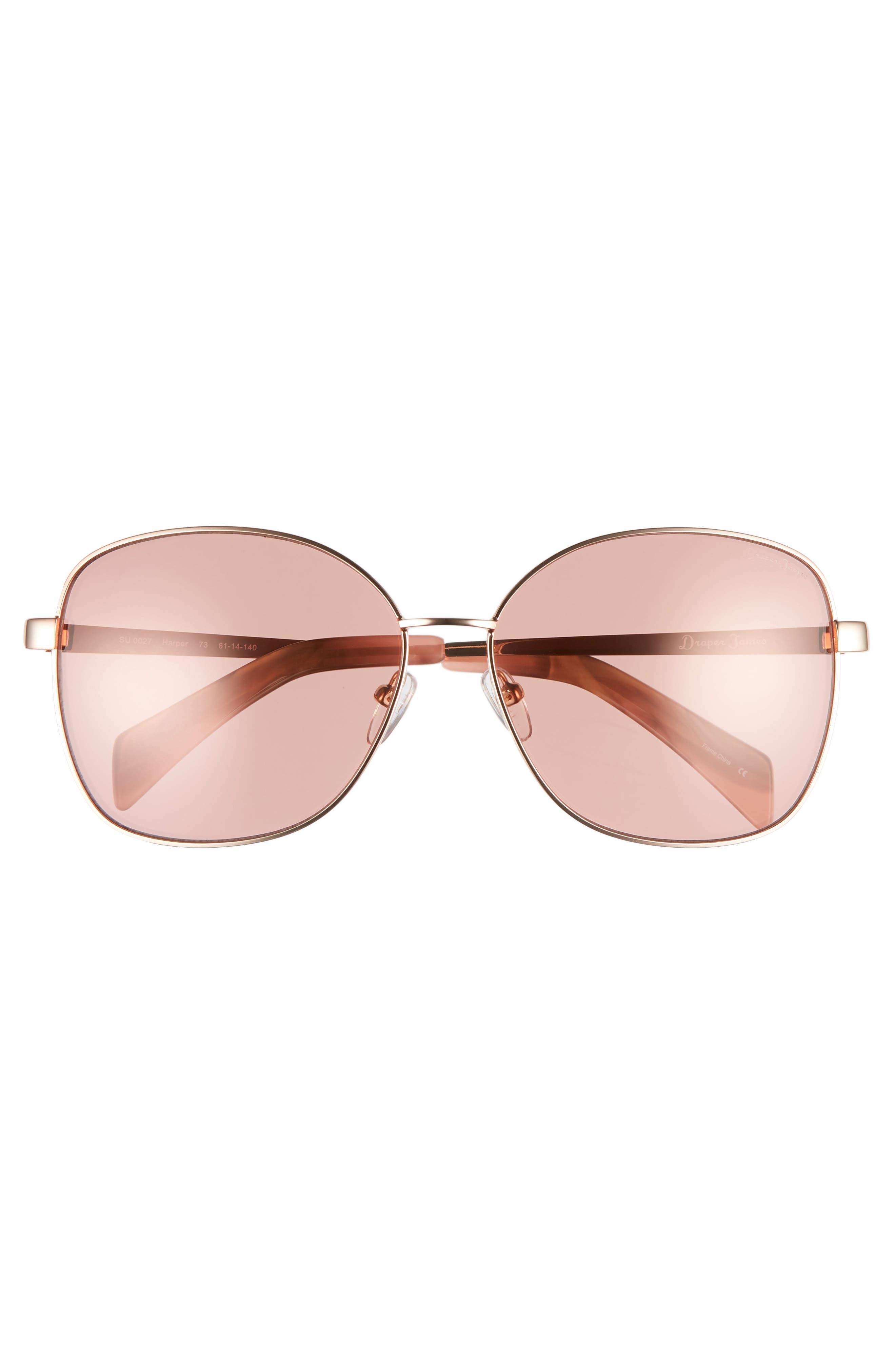 61mm Square Sunglasses,                             Alternate thumbnail 3, color,                             ROSE GOLD