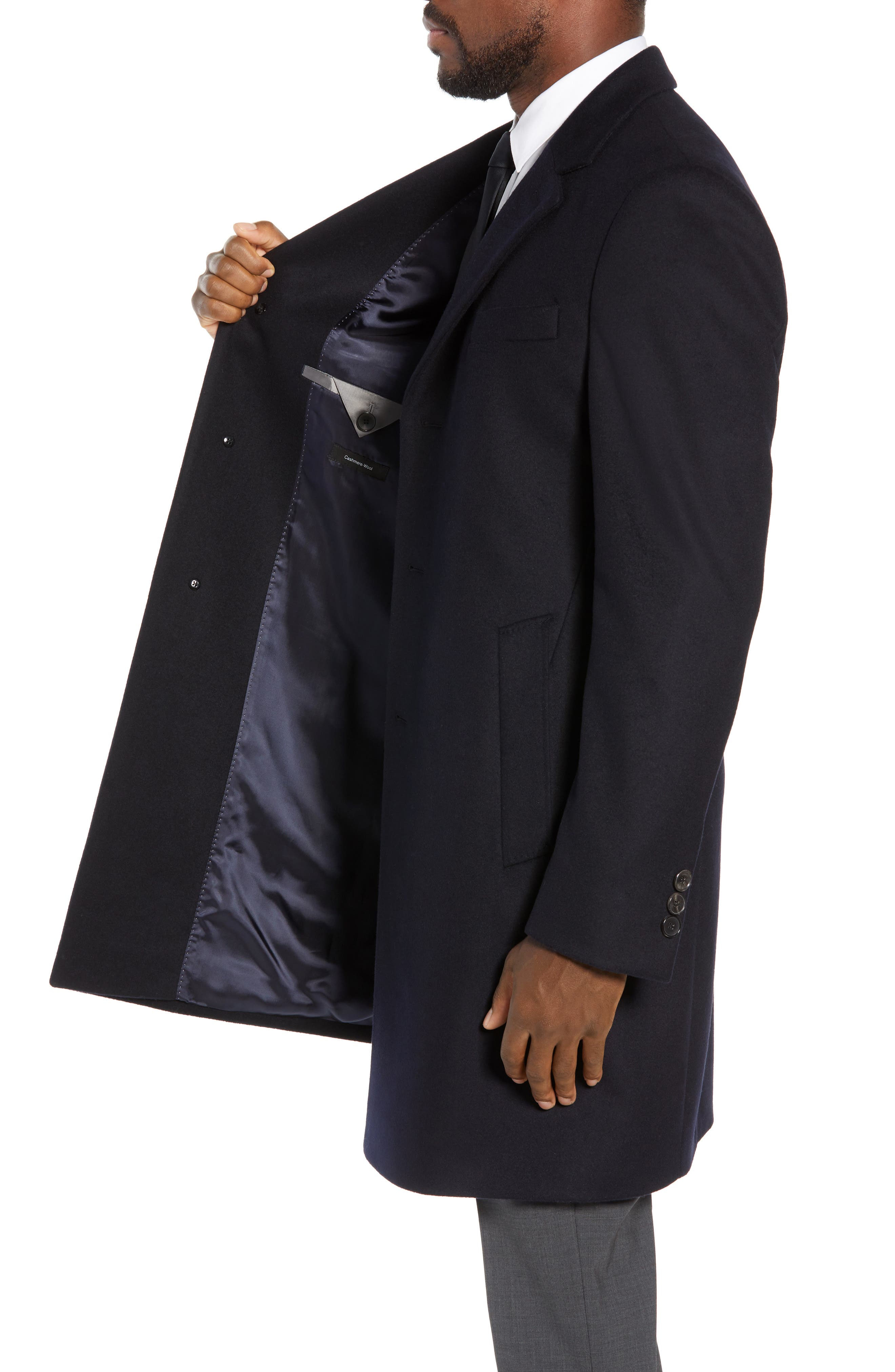 BOSS,                             Nye Regular Fit Solid Wool & Cashmere Topcoat,                             Alternate thumbnail 3, color,                             DARK BLUE