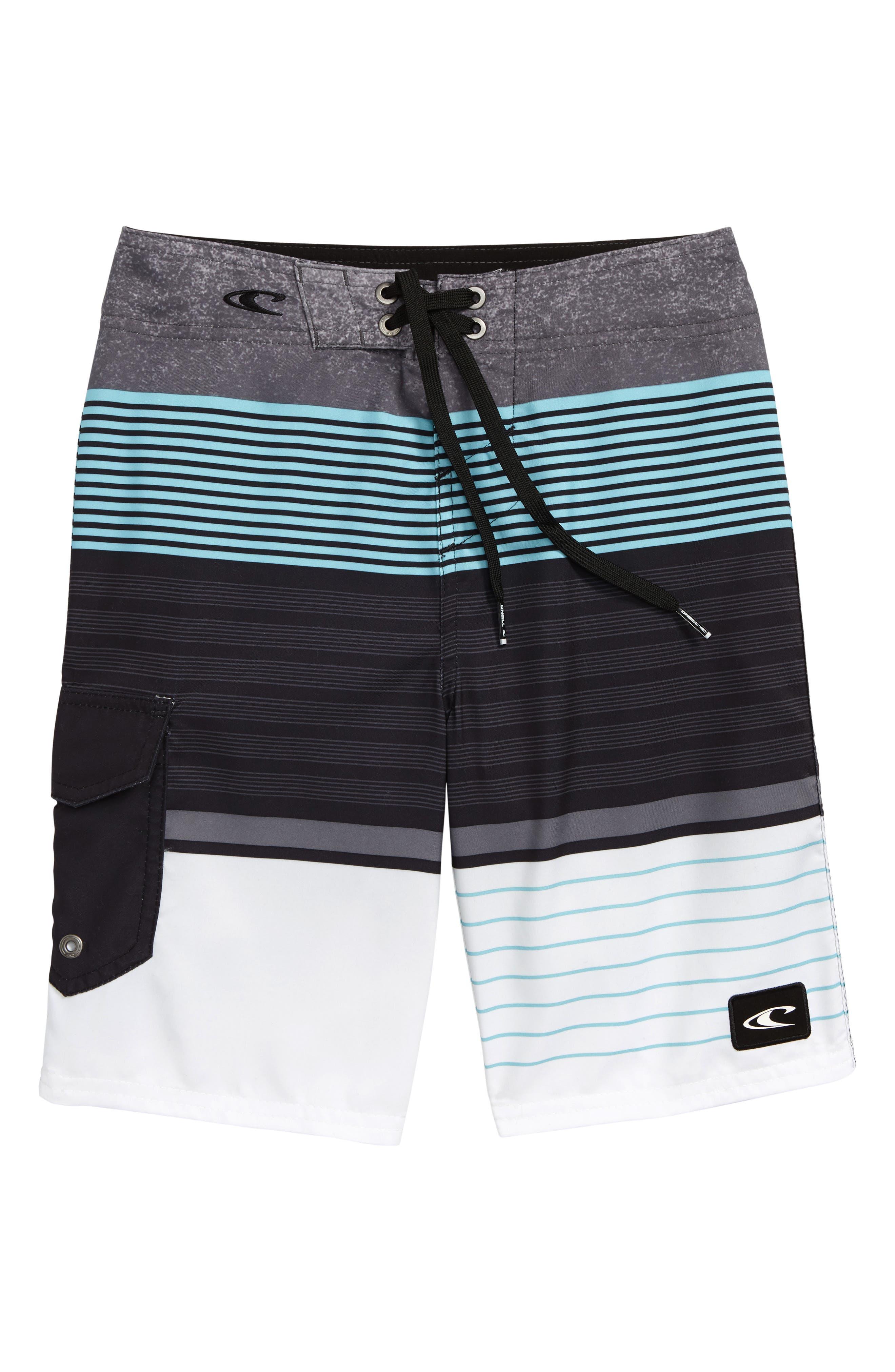 Lennox Stripe Board Shorts,                         Main,                         color, 020