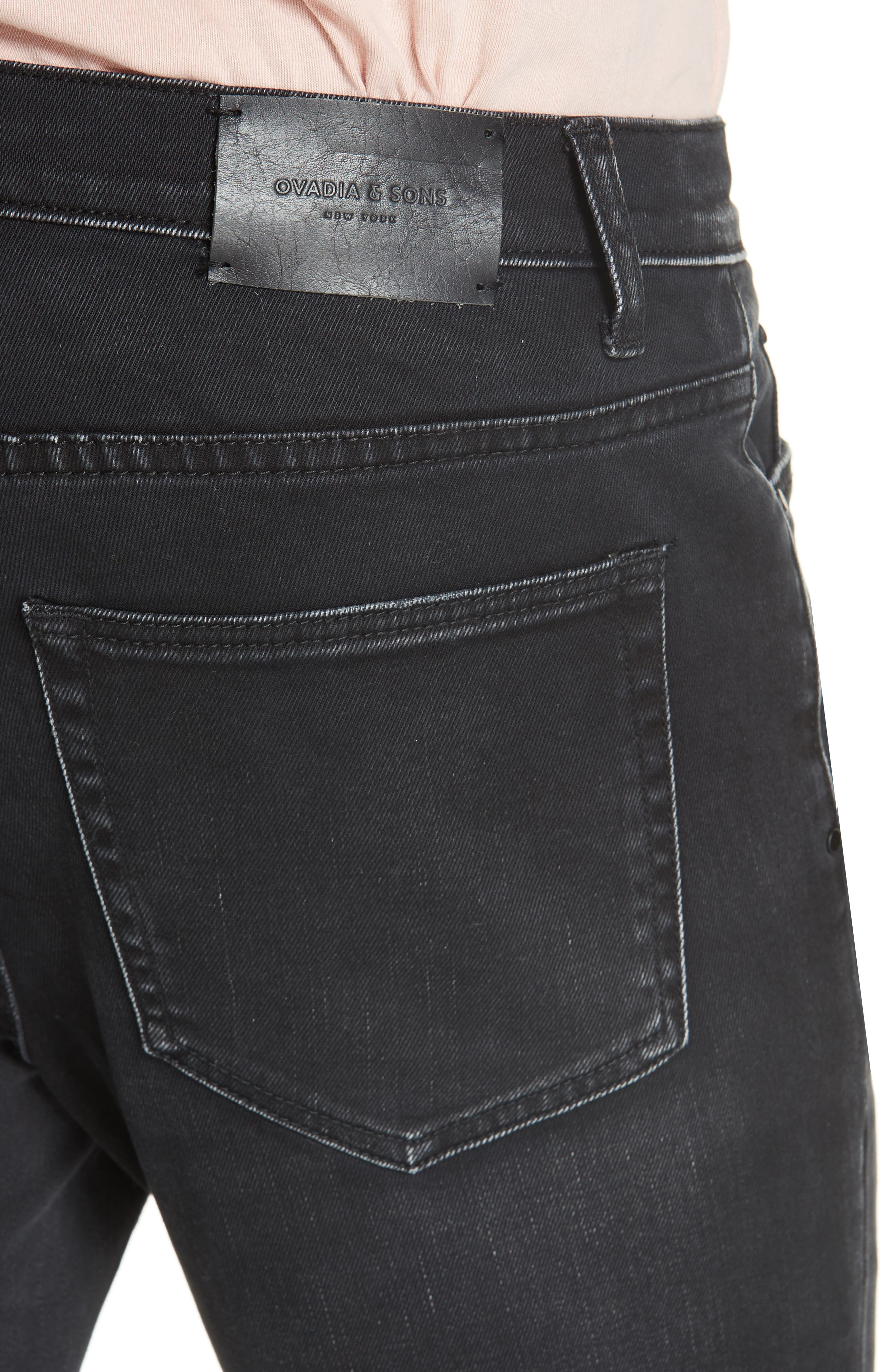 Distressed Slim Fit Jeans,                             Alternate thumbnail 4, color,                             BLACK