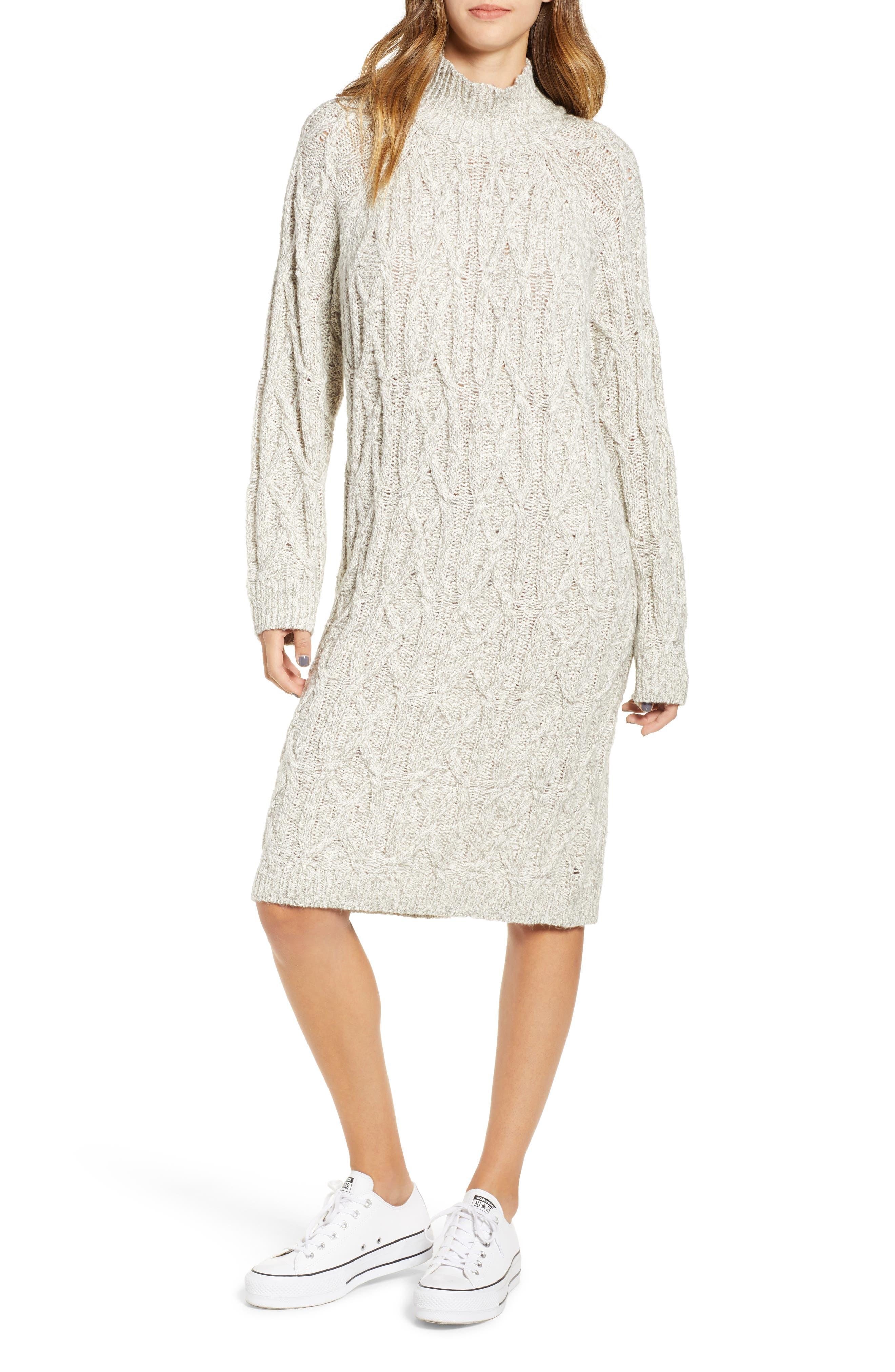 Cable Knit Sweater Dress,                             Main thumbnail 1, color,                             GREY PEARL MARL