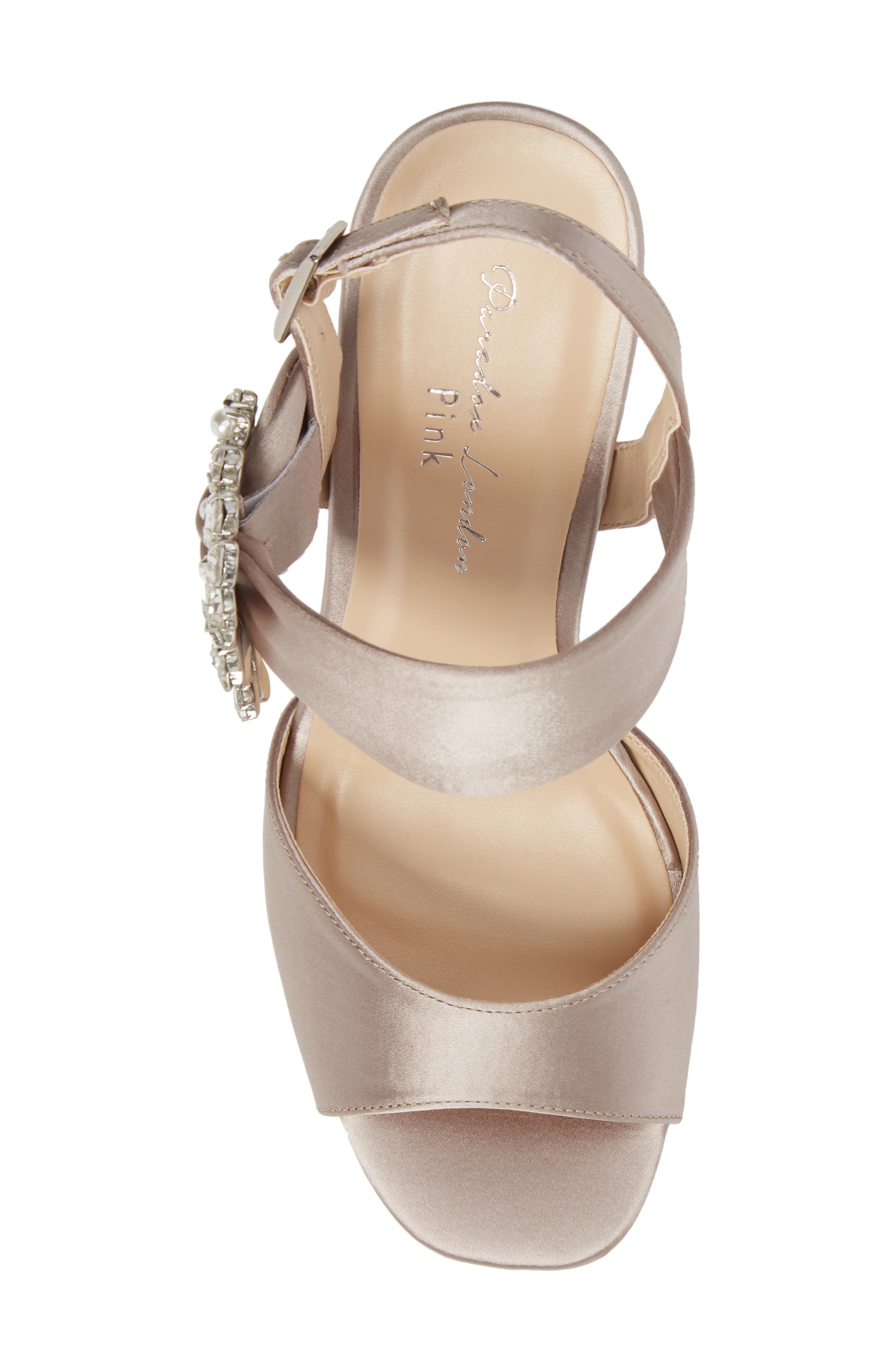Manhattan Embellished Sandal,                             Alternate thumbnail 5, color,                             TAUPE SATIN