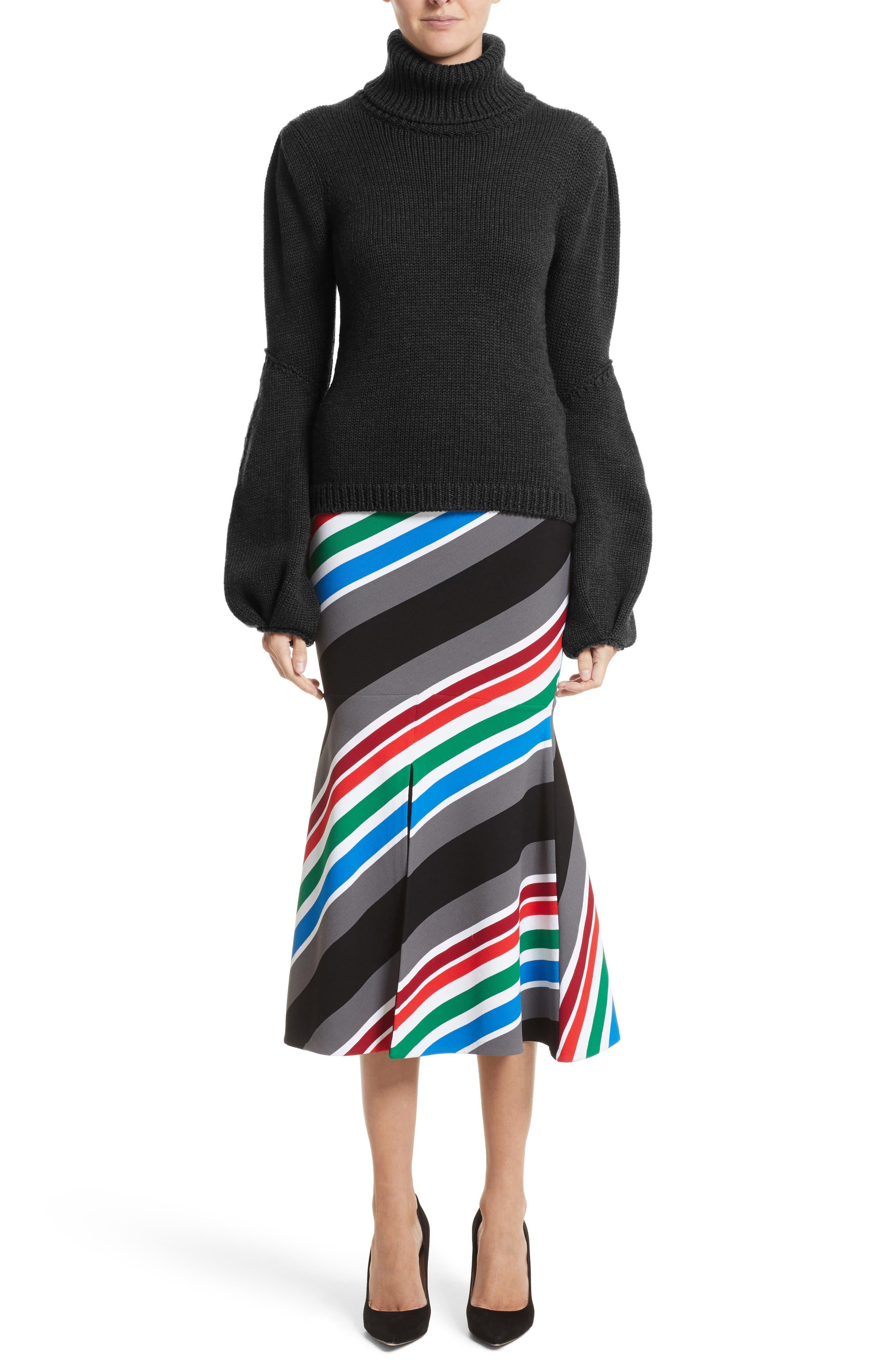 Compact Knit Stripe Skirt,                             Alternate thumbnail 6, color,                             960