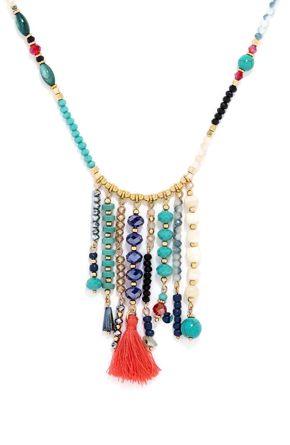 'Congo' Beaded Tassel Necklace,                             Alternate thumbnail 5, color,