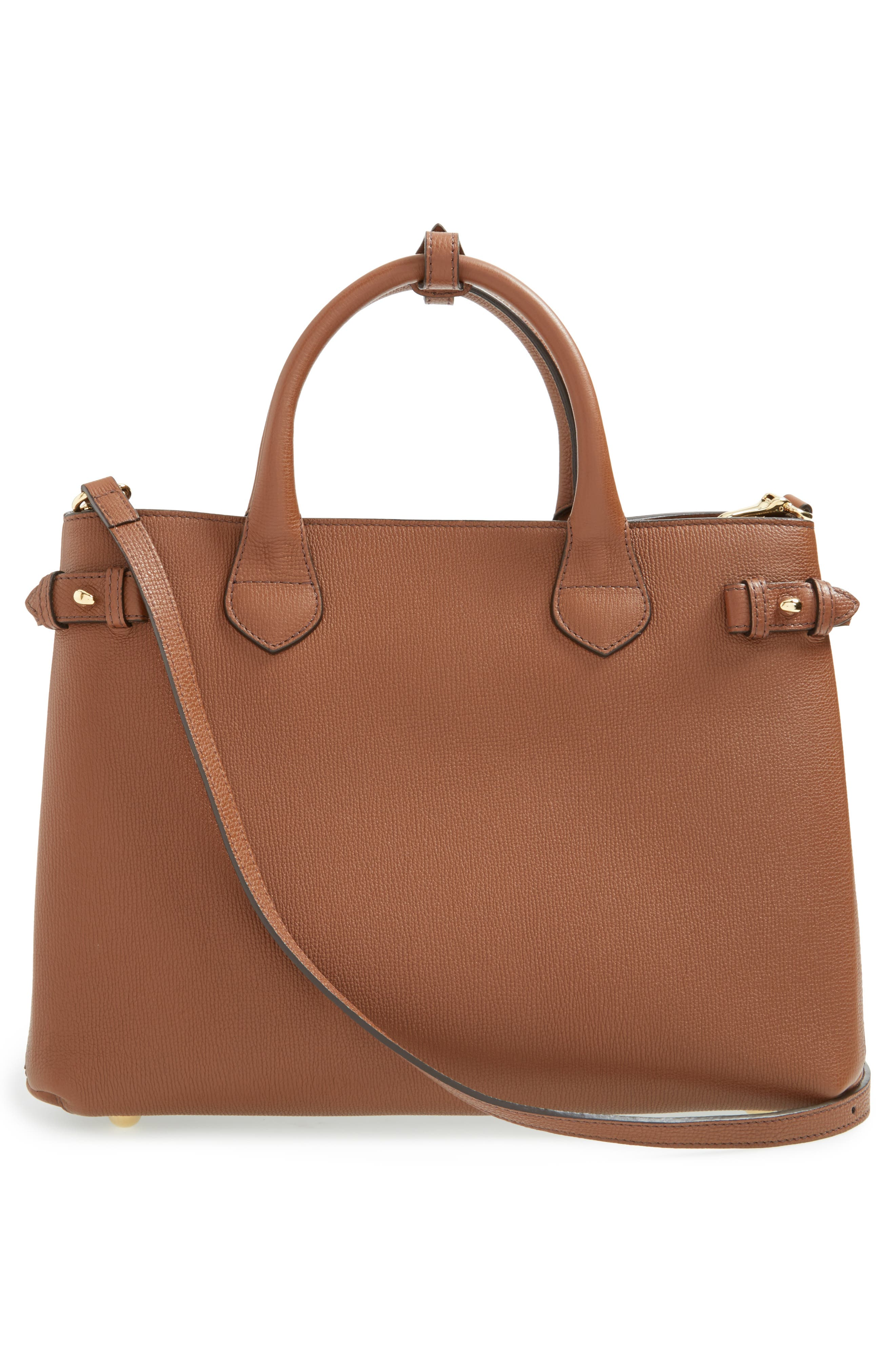 Medium Banner House Check Leather Tote,                             Alternate thumbnail 4, color,                             251