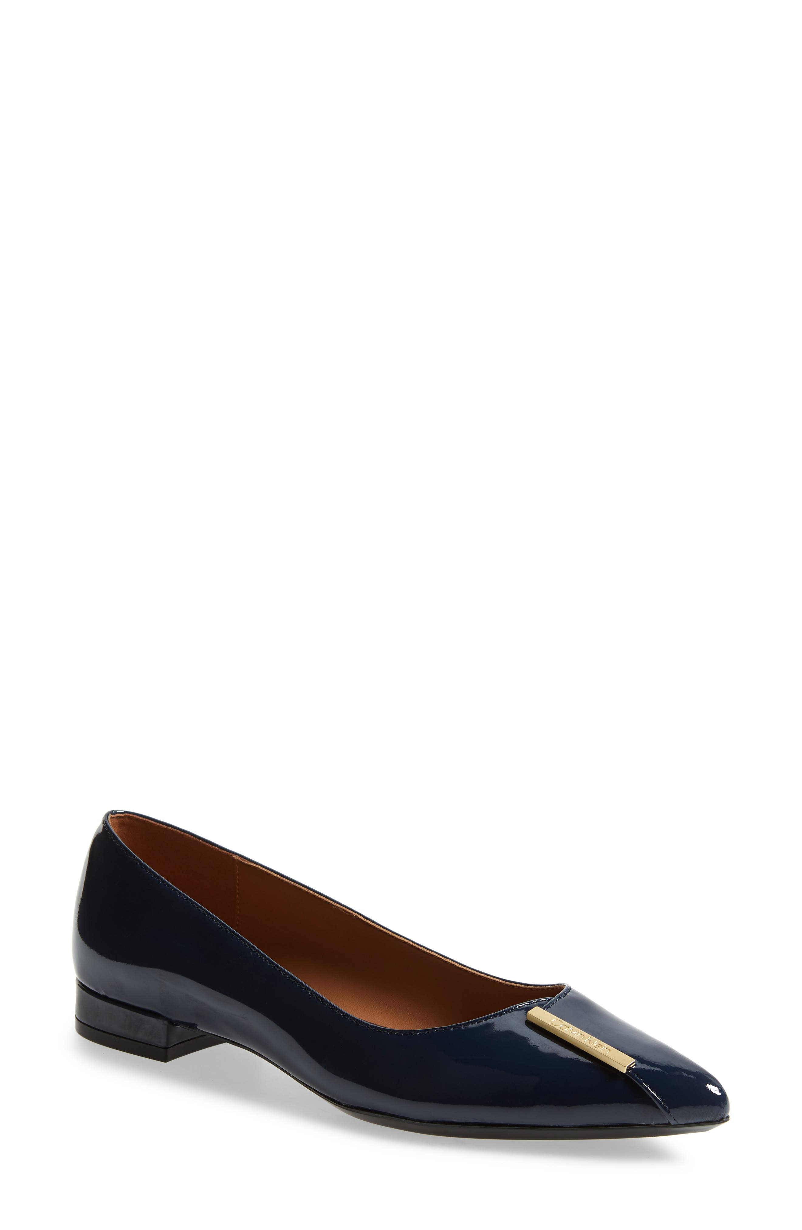 Arline Pointy Toe Flat,                             Main thumbnail 1, color,                             NAVY PATENT LEATHER
