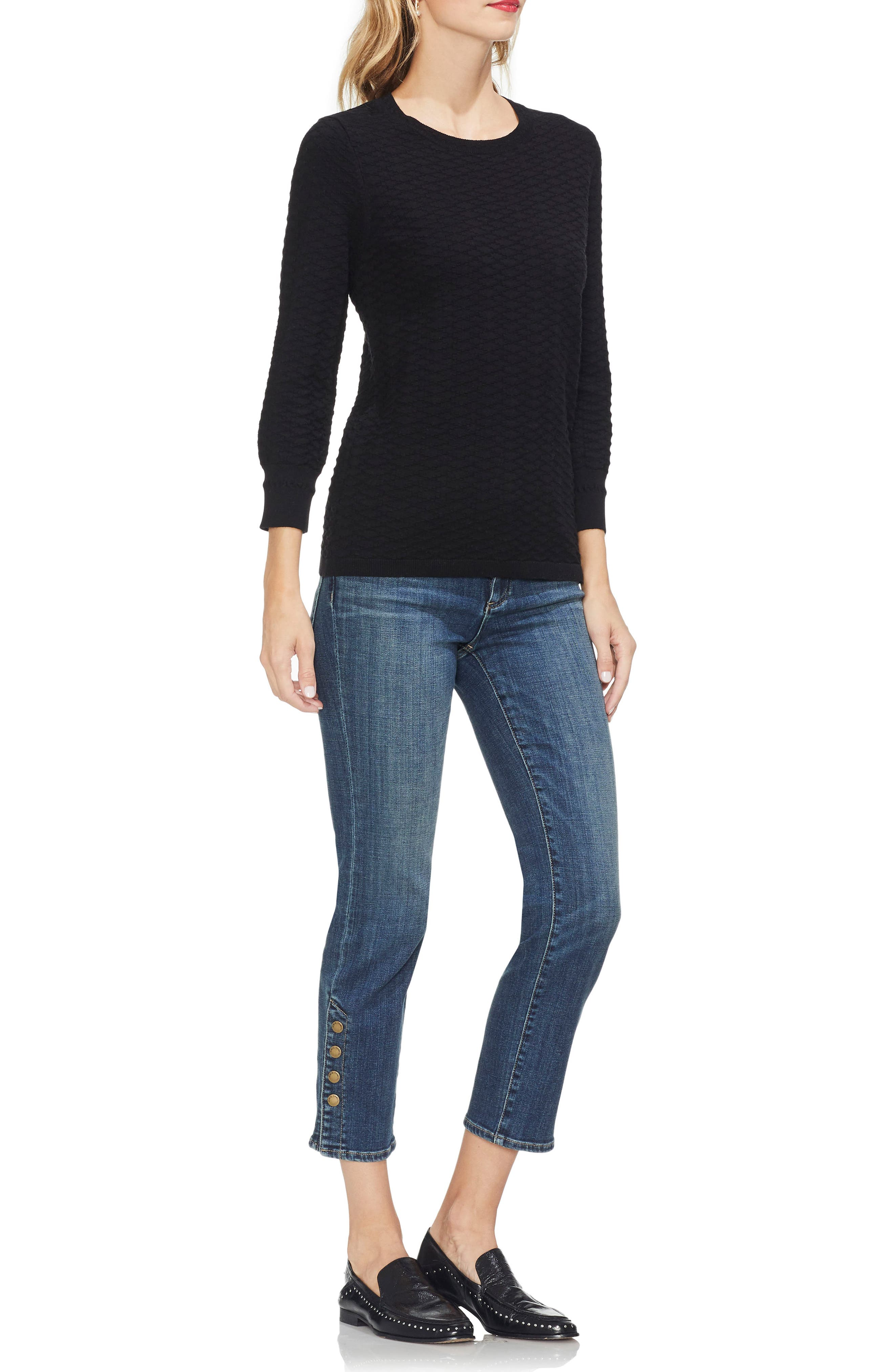 VINCE CAMUTO,                             Rhombus Stitch Sweater,                             Alternate thumbnail 3, color,                             006