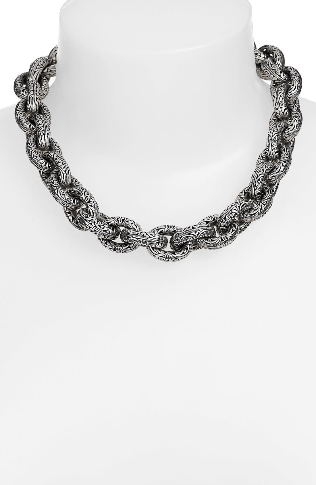 'Classics' Link Collar Necklace, Main, color, SILVER