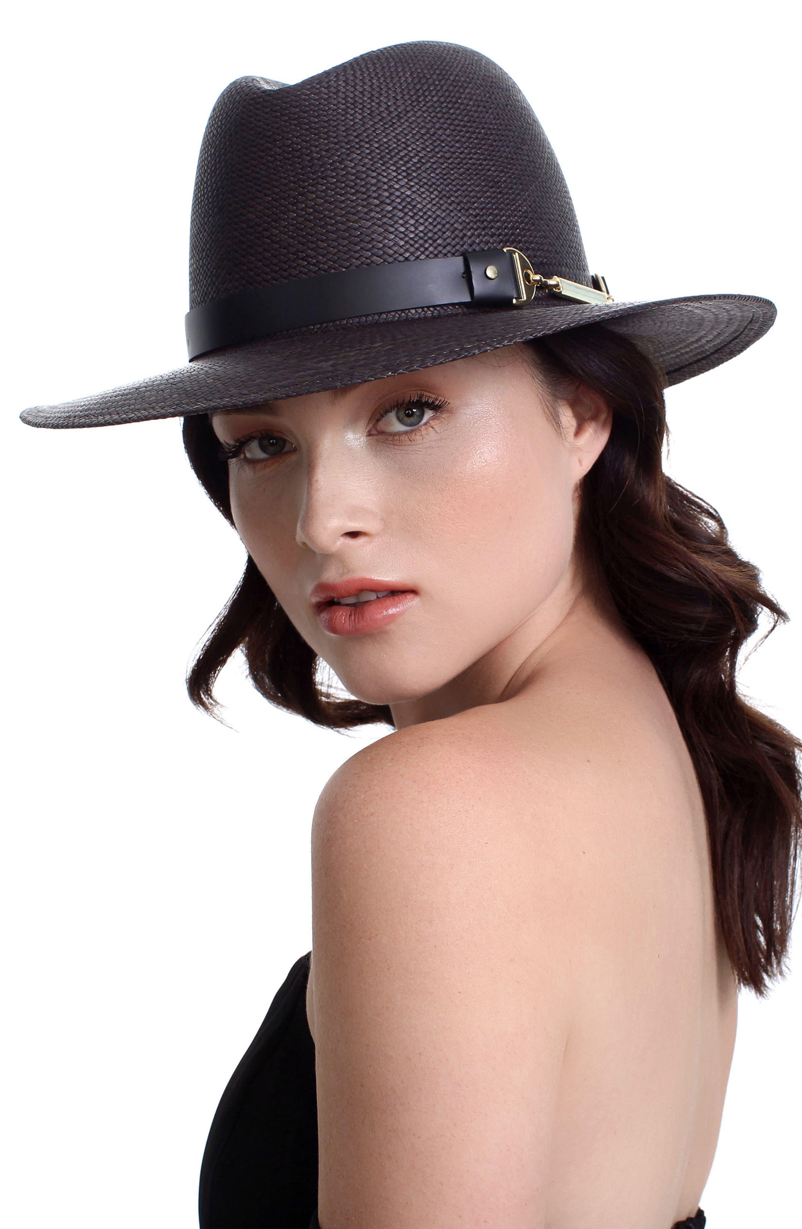 The Marlene Straw Panama Hat,                             Alternate thumbnail 3, color,                             BLACK