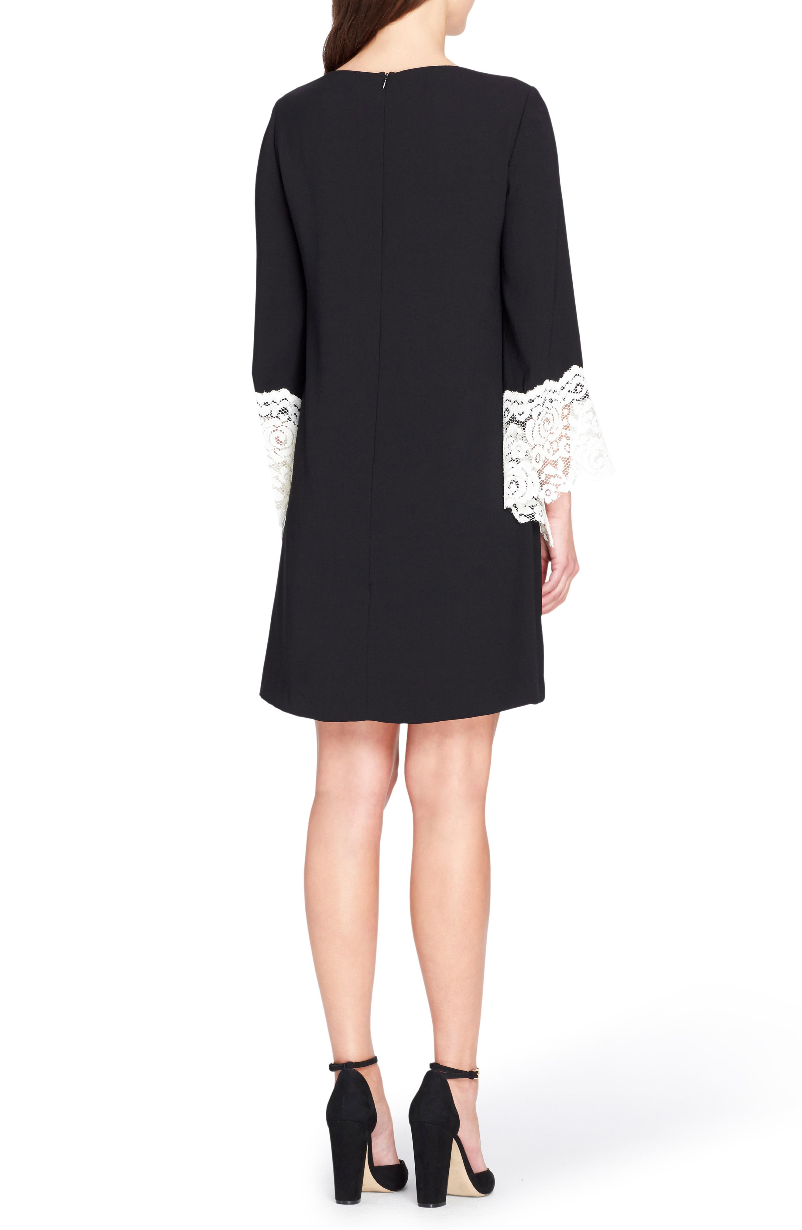 Lace Cuff Shift Dress,                             Alternate thumbnail 2, color,                             003
