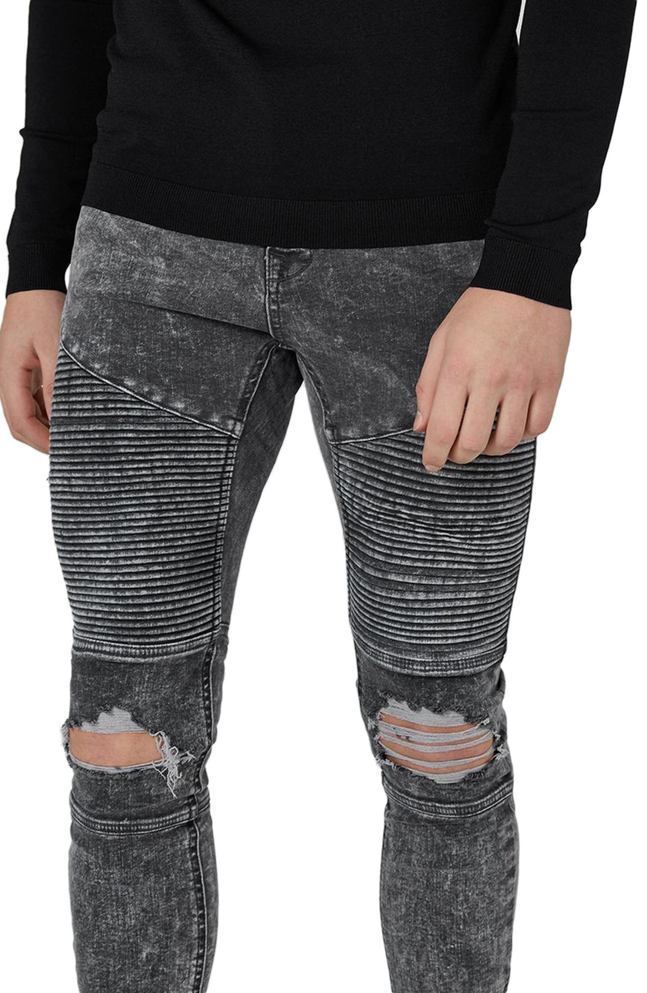 Acid Wash Spray-On Biker Jeans,                             Alternate thumbnail 3, color,                             020