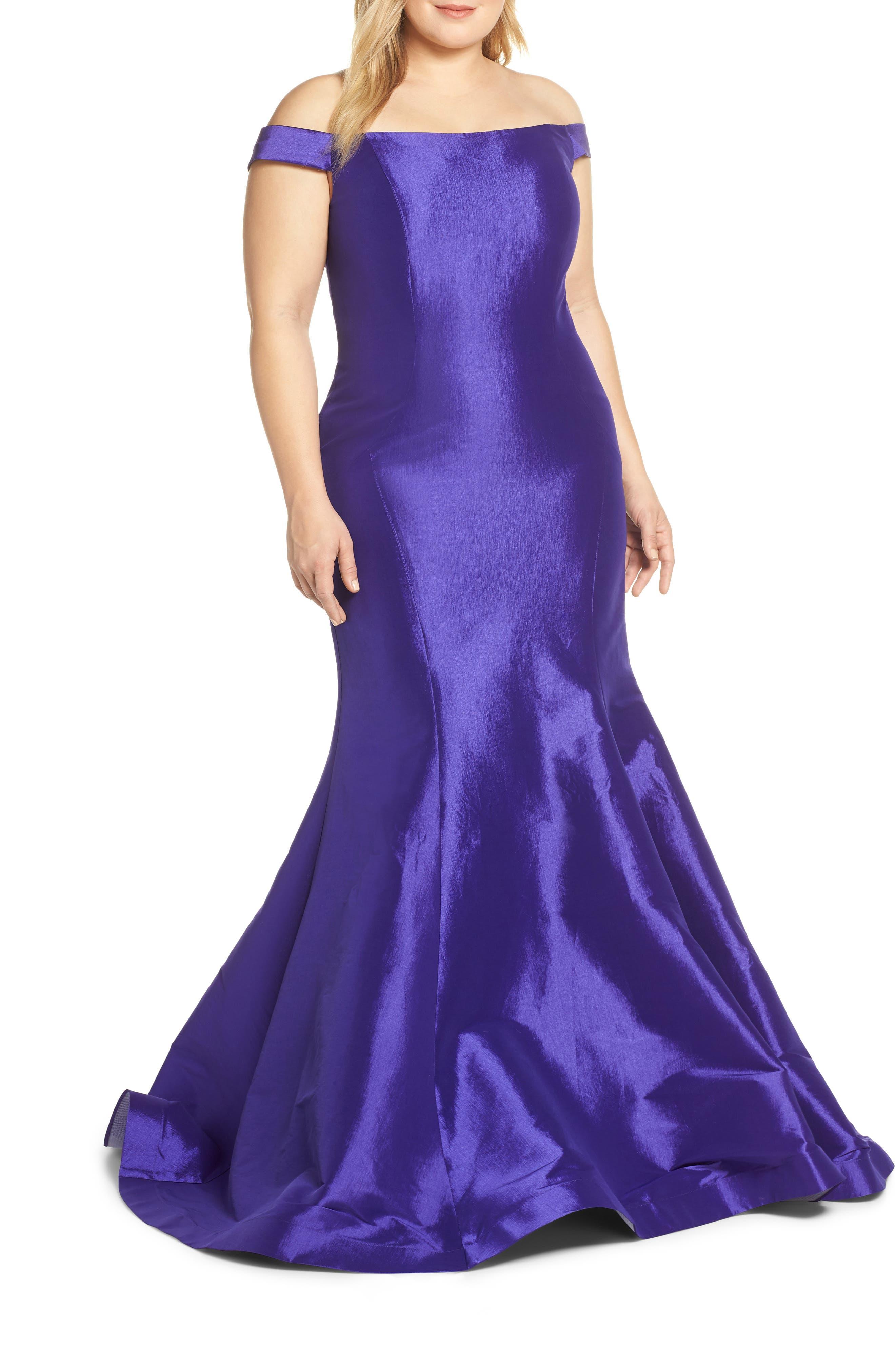 Plus Size MAC Duggal Sequin Trumpet Evening Dress, Purple