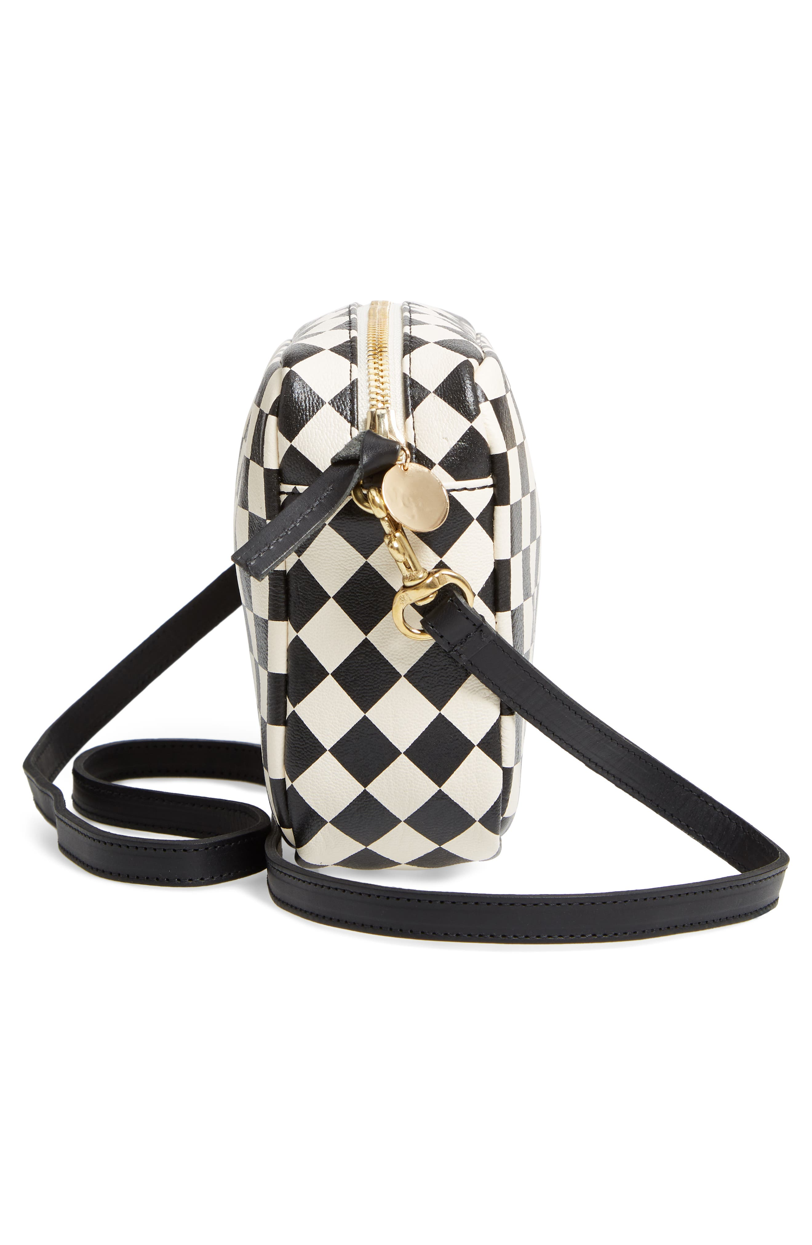 Midi Sac Check Leather Shoulder Bag,                             Alternate thumbnail 5, color,                             CREAM/ BLACK CHECKERS