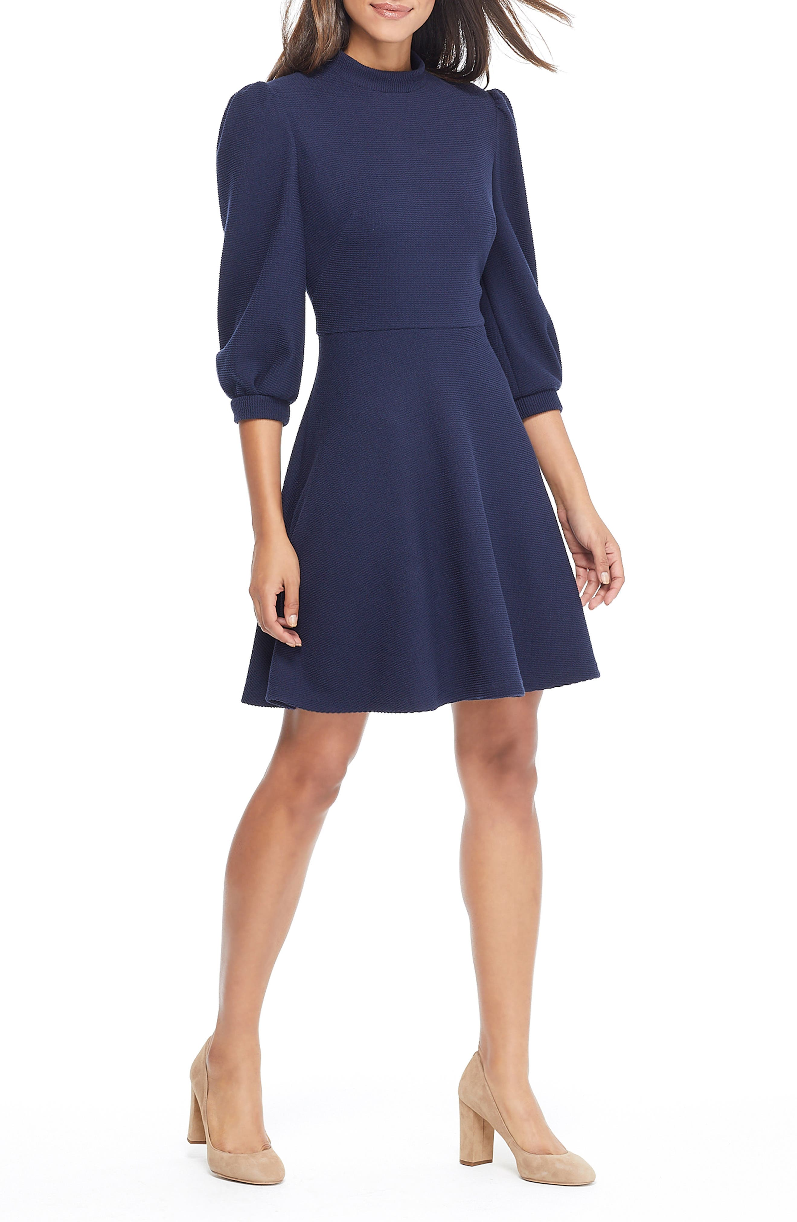 Maggie Texture Knit Fit & Flare Dress,                         Main,                         color, NAVY
