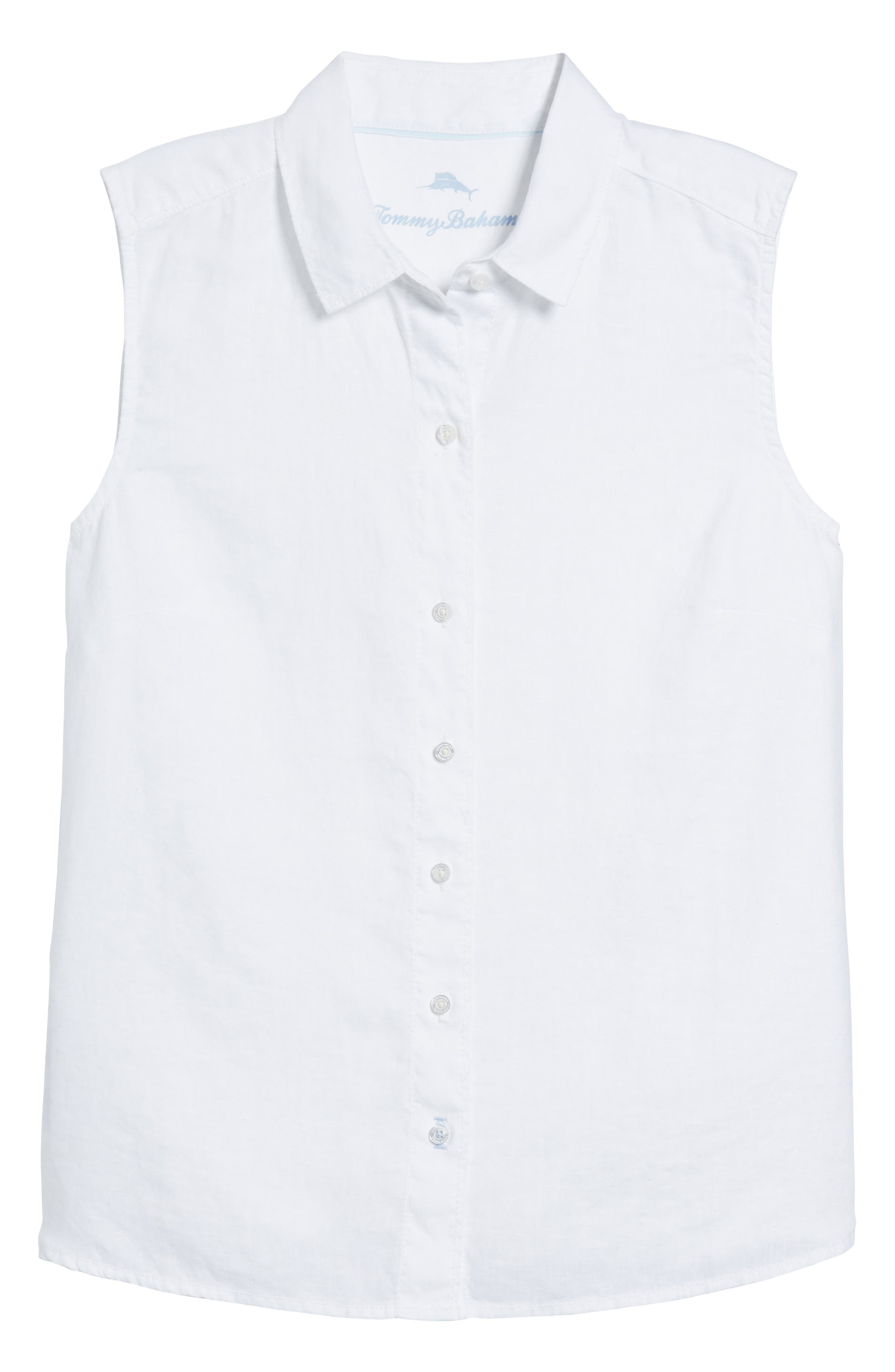 Sea Glass Breezer Linen Shirt,                             Alternate thumbnail 7, color,                             WHITE